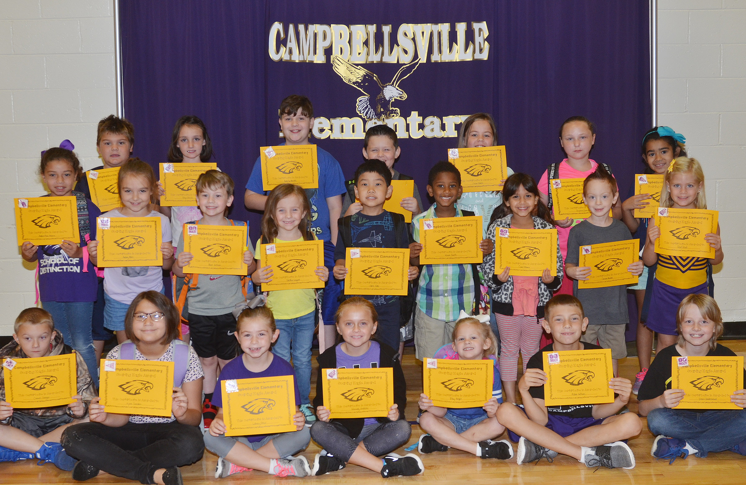 From left, front, are third-grader Camren Skaggs, fifth-grader Kylee Sowders, second-grader Lainey Price, fourth-grader Kennedy Griffiths, kindergartener Riley Bright, third-grader Aidan Wilson and fourth-grader Devin Underwood. Second row, second-grader Ammarissa Nunez, first-grader Aubrey Allen, kindergarteners Abel Wilson and Tabitha Leggett, second-grader Zach Hak, first-graders Kasen Smith, Carol Moura and Carson Montes and kindergartener Remi Petett. Back, fifth-grader Logan England, fourth-grader Paige Ritchie, fifth-grader Andrew Mardis, third-grader Weston Veltman, fourth-grader Chloe Bates, fifth-grader Shyanna Young and third-grader Sophia Santos. Second-grader Fabrizio Segura is absent from the photo.