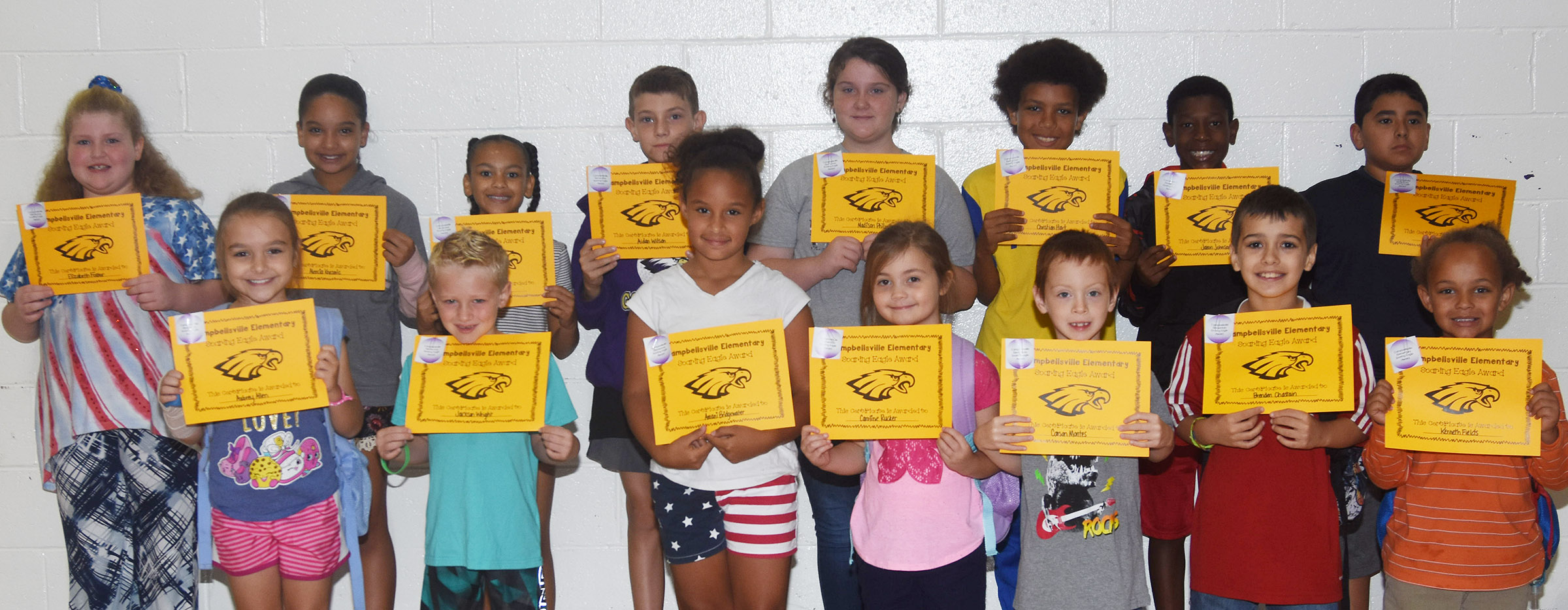 From left, front, are second-grader Aubrey Allen, first-grader Jackson Wright, third-grader Amani Bridgewater, kindergartener Caroline Rucker, second-grader Carson Montes, third-grader Brenden Chastain and kindergartener K.J. Fields. Back, third-grader Elizabeth Foster, fifth-grader Aleecia Knezevic, fourth-graders Alexia Howard and Aidan Wilson, fifth-graders Madison Philpott and Christian Hart, fourth-grader Jaron Johnson and fifth-grader Cody Tamez. Absent from the photo are kindergartener Bentley Cox, first-graders Courtney Gilbert and Samuel Terry and third-grader Zach Hak.