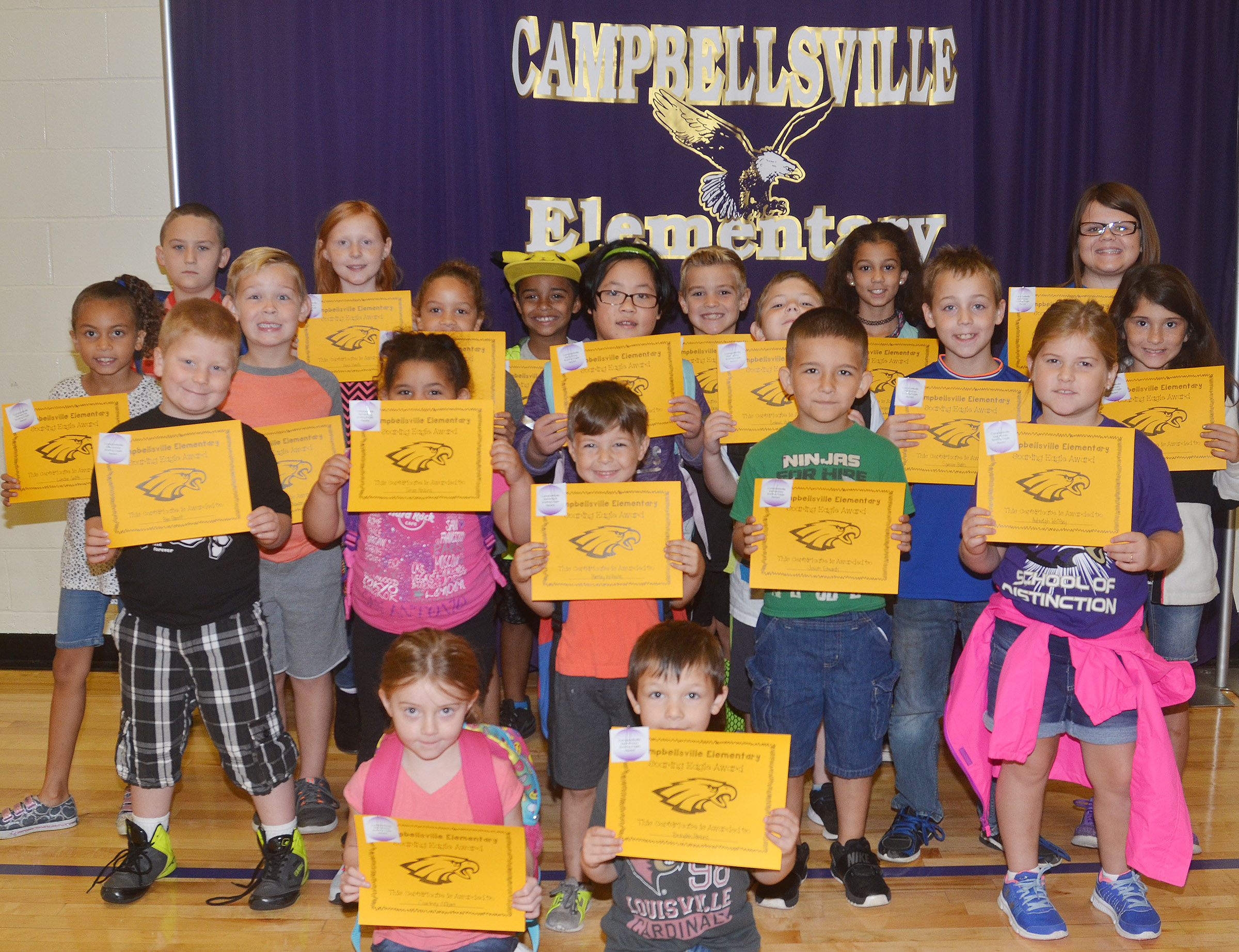 From left, front, are kindergarteners Courtney Gilbert and Brayden Perkins. Second row, second-grader Ben Parrott, kindergarteners Tatum Hoskins and Bentley Wilhoite and first-graders Josiah Edwards and Aubreigh Knifley. Third row, second-grader Londyn Smith, first-grader John Hagan Newton, second-grader Keiava Thompson, first-grader Vicky Li, third-grader Seamus Huber, fifth-grader Spencer Bates and third-grader Ava Taylor. Back, third-graders Carson Ford, Nora Harris and Keylan Strong, second-grader Dax Gray and fifth-graders Mackenzie Negron and Keeley Dicken. Absent from the photo is fourth-grader Cash Cowan.