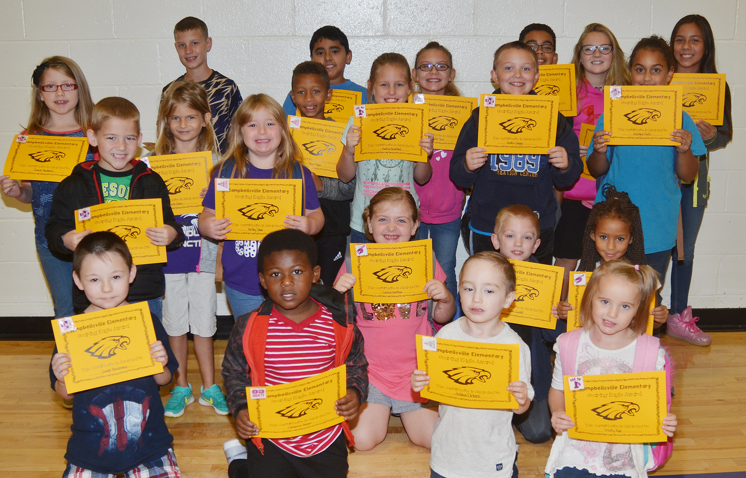 From left, front, are second-grader Joseph Boudreaux and kindergarteners LaTayvion Brown, Joshua Dickens and Trinity Dye. Second row, first-graders Mason Edwards and Briley Sapp, second-grader London Whitlow, third-grader Evan Cundiff and first-grader Aleja Taylor. Third row, fourth-grader Gracie Pendleton, first-grader Gracie Gebler, third-grader Rajon Taylor, fourth-grader Madisyn Bradfield, third-grader Griffin Skaggs and second-grader Maleigha Travis. Back, fifth-grader Rowan Petett, fourth-graders Cody Tamez and Vivian York and fifth-graders Gabriel Noyola, Lilyan Murphy and Marissa Segura.