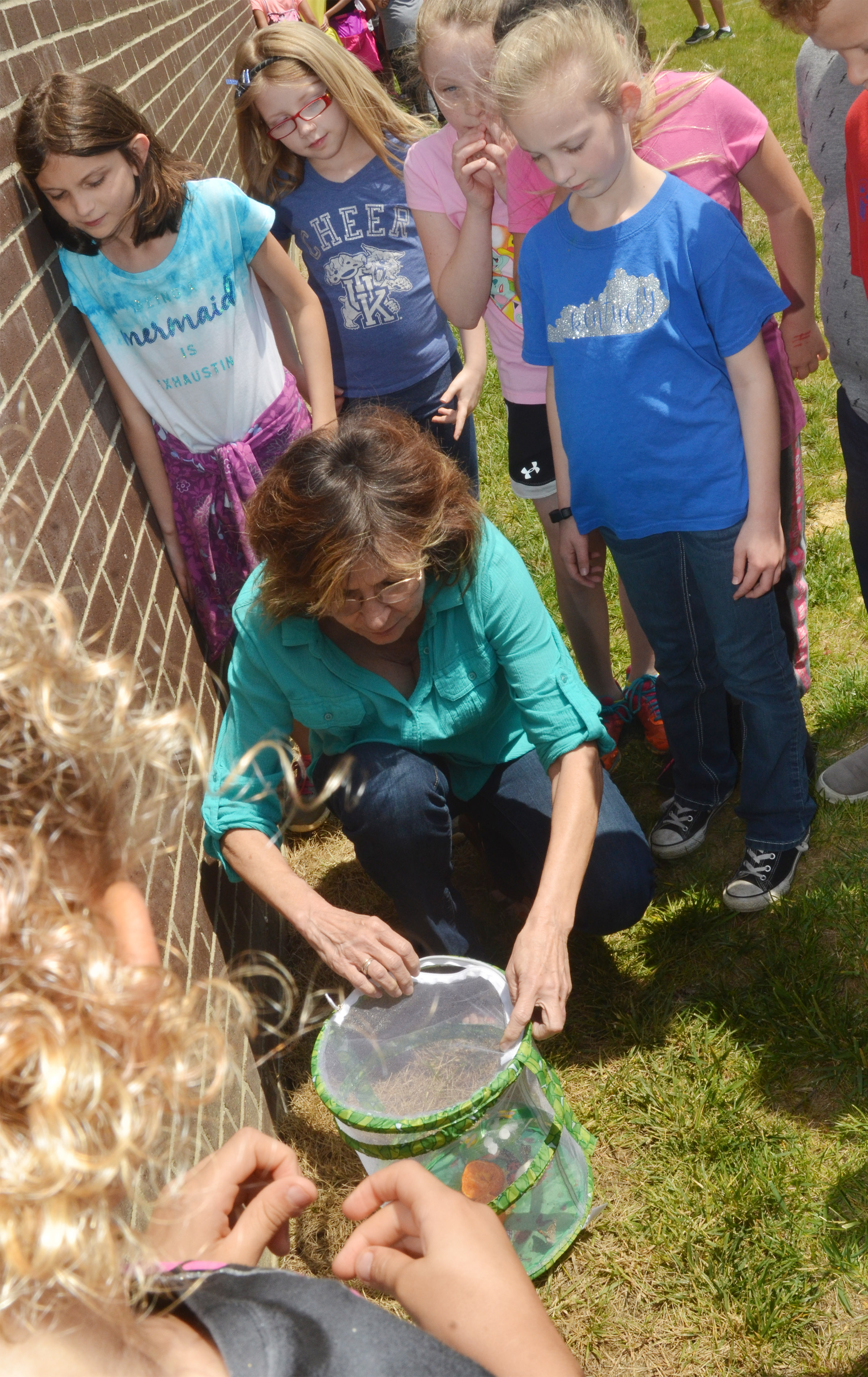 CES third-grade teacher Marcia Sharp opens the container to release her class's butterflies.