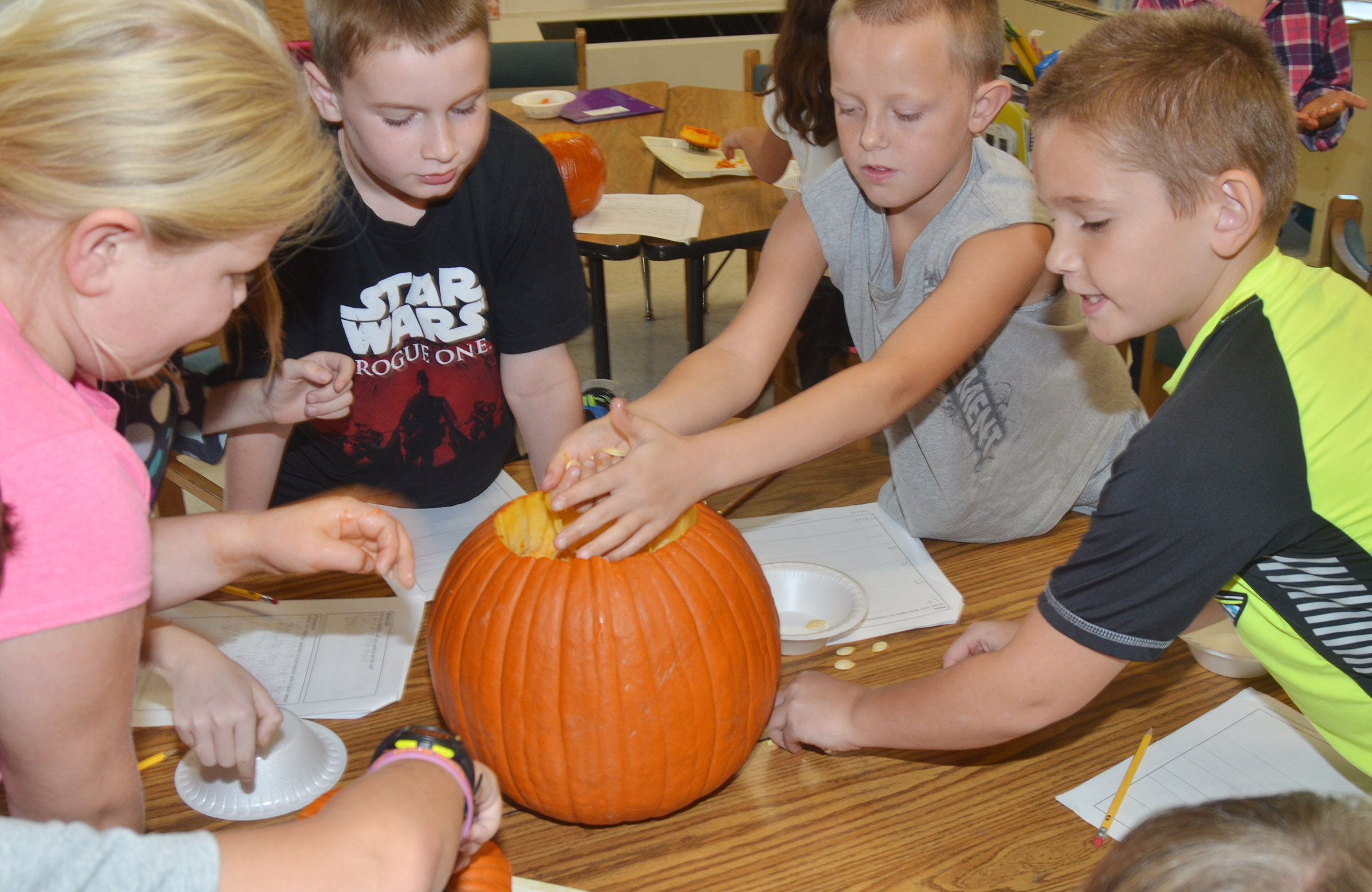 CES third-graders, from left, Lily Coots, Stephen Green, Tyler Brown and Sean Welch get the seeds out of their pumpkin.