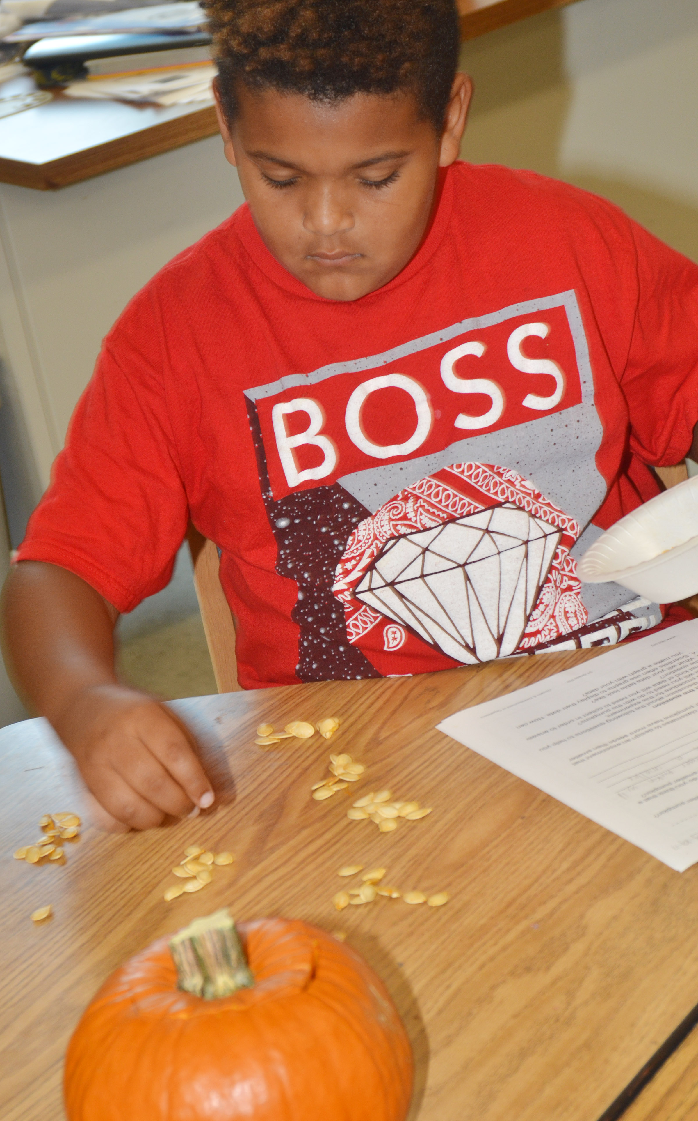 CES third-grader Jayden Moore counts pumpkin seeds.