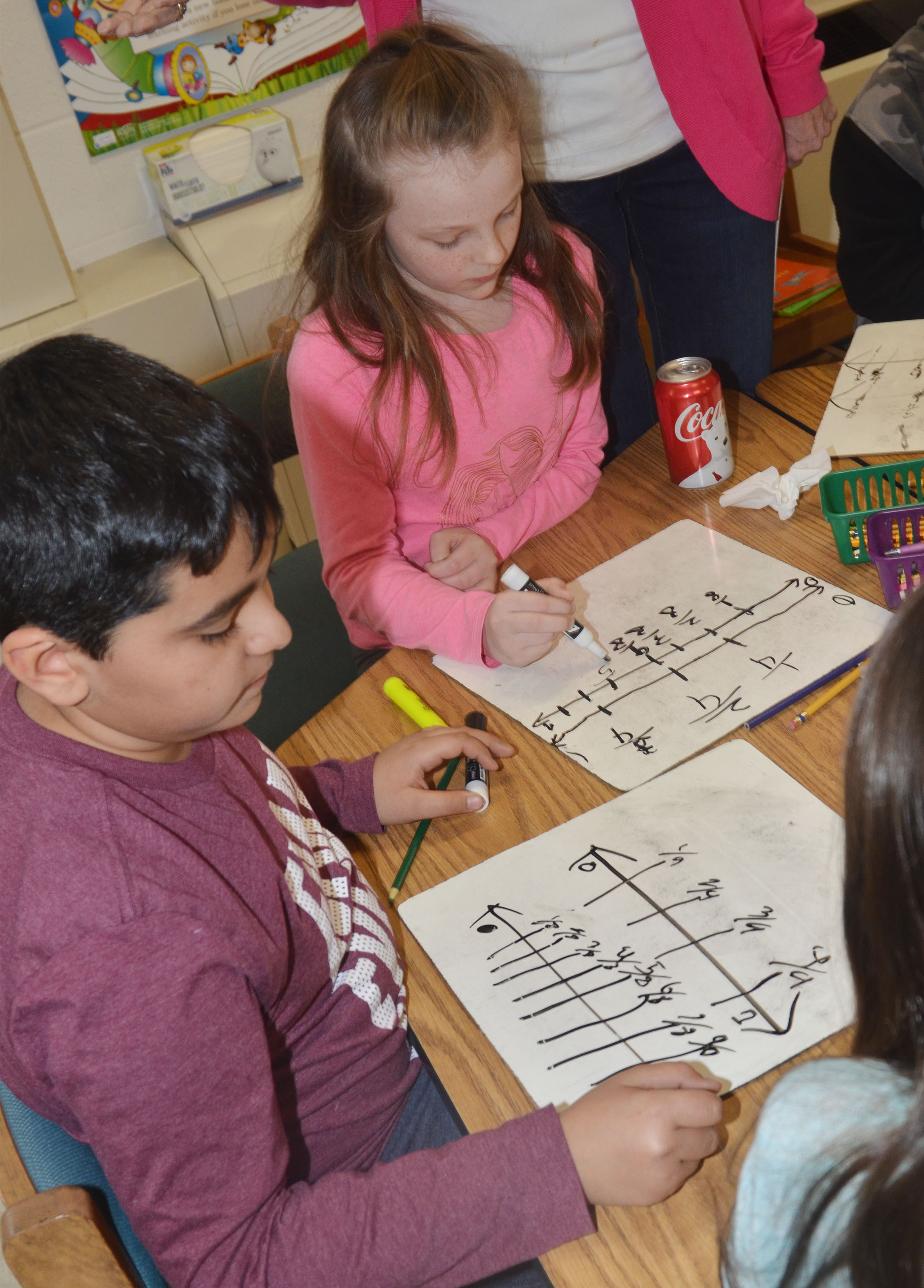 CES third-graders Cody Tamez, at left, and Jaylen Clark practice adding fractions.