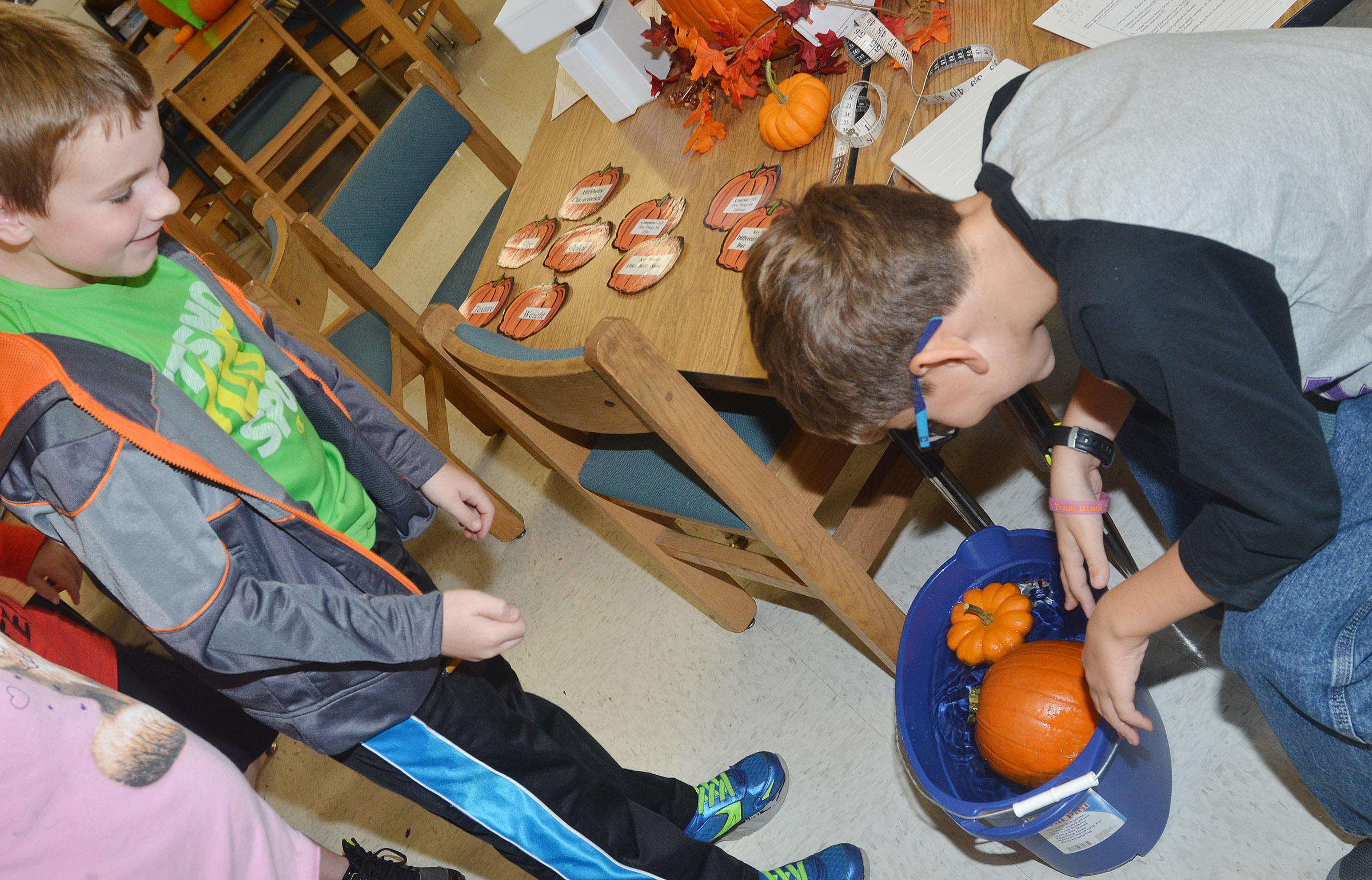 CES third-graders Stephen Green, at left, and Tye Rhodes see if their pumpkins float.