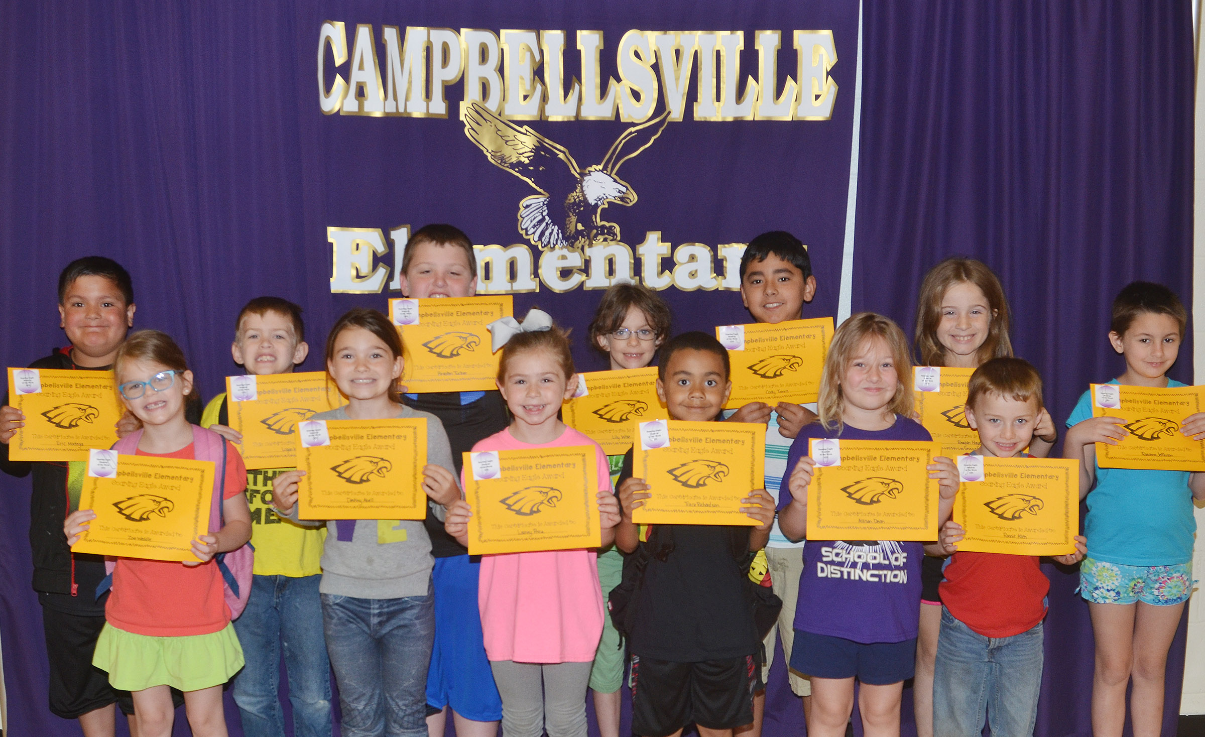 From left, front, are kindergartener Zoe Weddle, third-grader Destiny Abell, first-graders Lainey Price, Trace Richardson and Allison Dean and kindergartener Ronnie Allen. Back, first-graders Eric Mixtega and Logan Weddle, second-graders Braxton Tucker and Lily Wise and third-graders Cody Tamez, Reagan Hayes and Raeanna Jefferson. Not pictured are kindergartener Isabella Anderson and second-grader Trenton Harris.