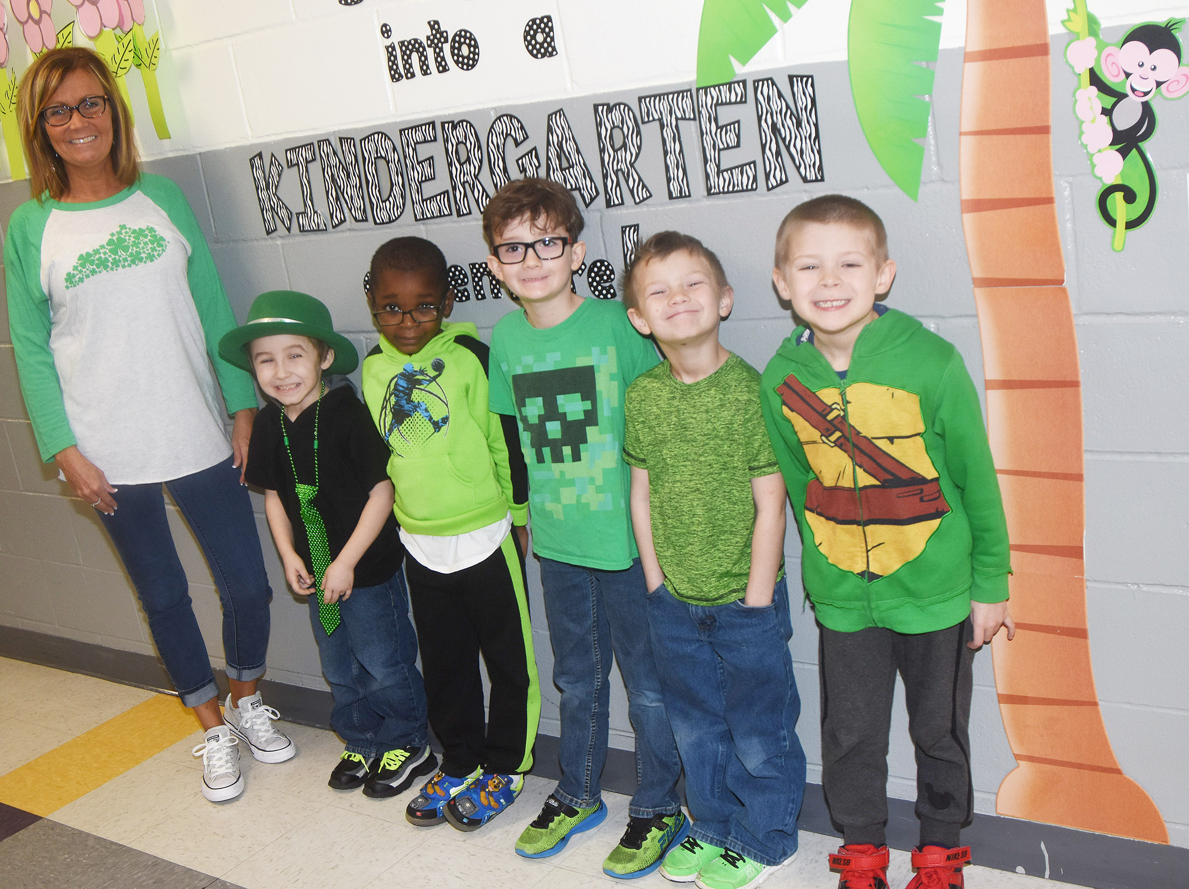CES students dress in green for St. Patrick's Day.