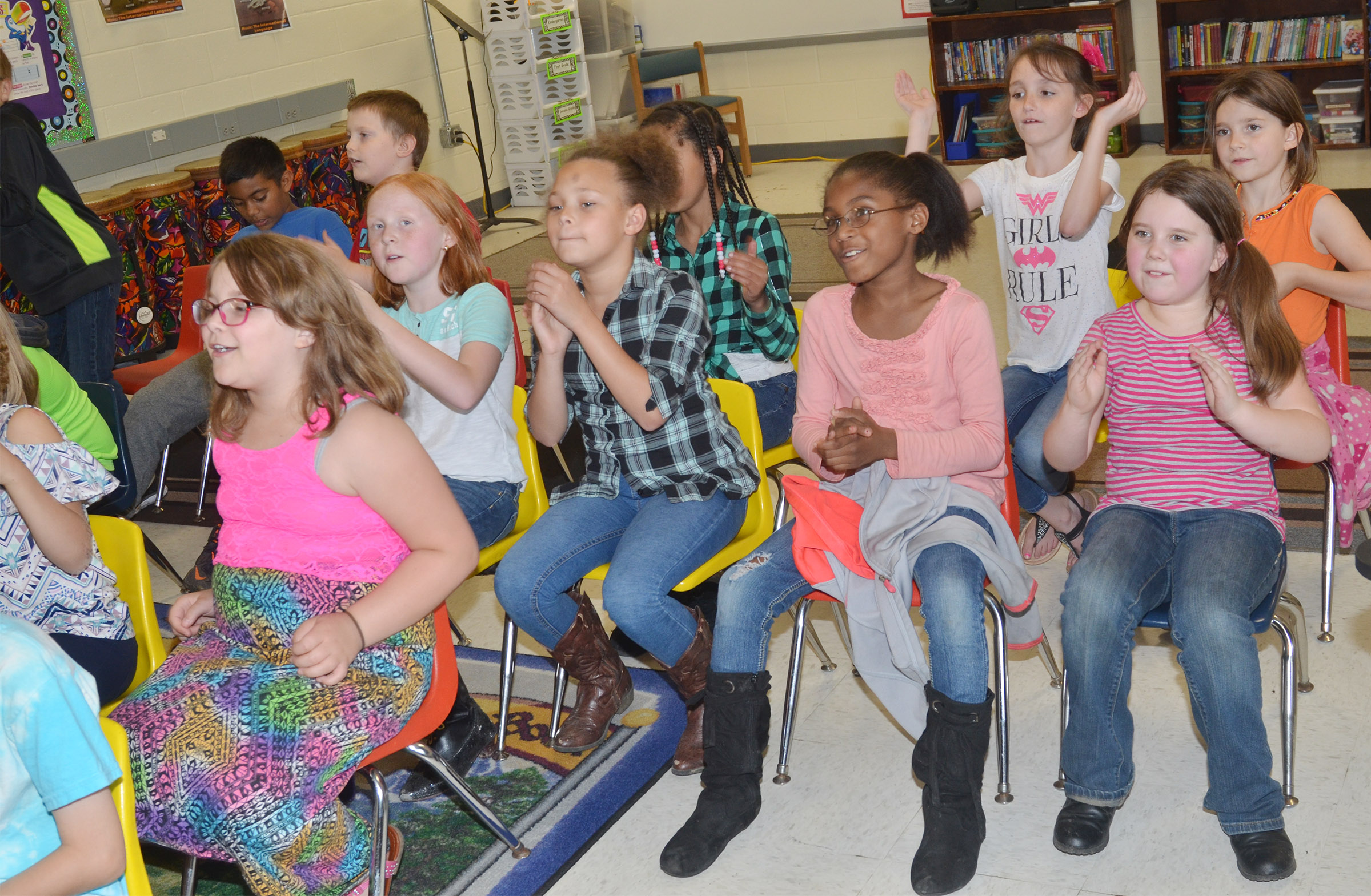 CES third-grade choir members practice for an upcoming performance.