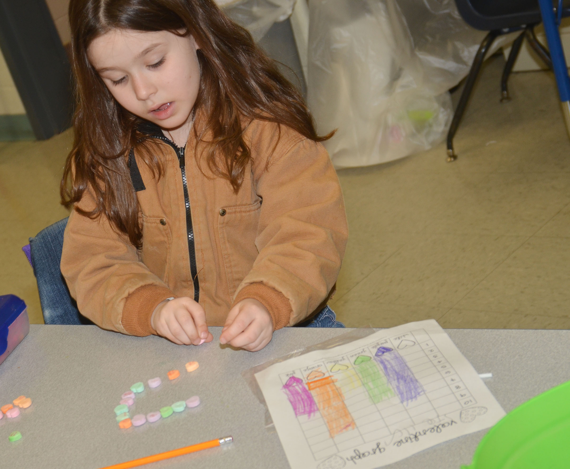 CES first-grader Stella Newcomb sorts her candies.