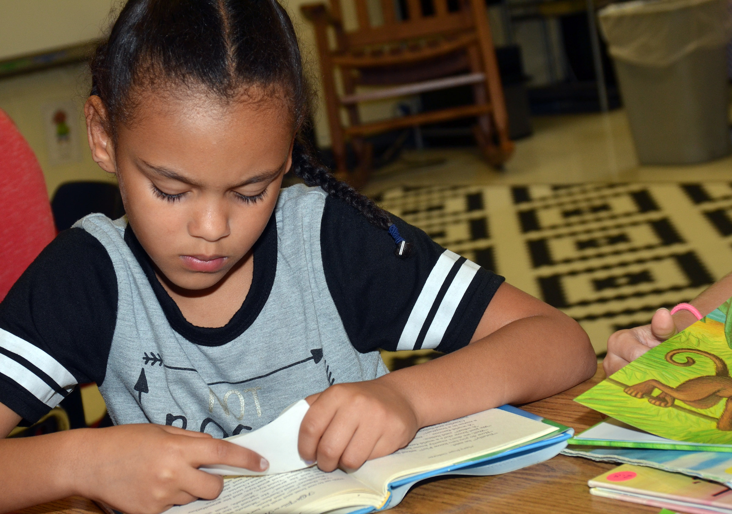 CES third-grader Alexis Howard reads.