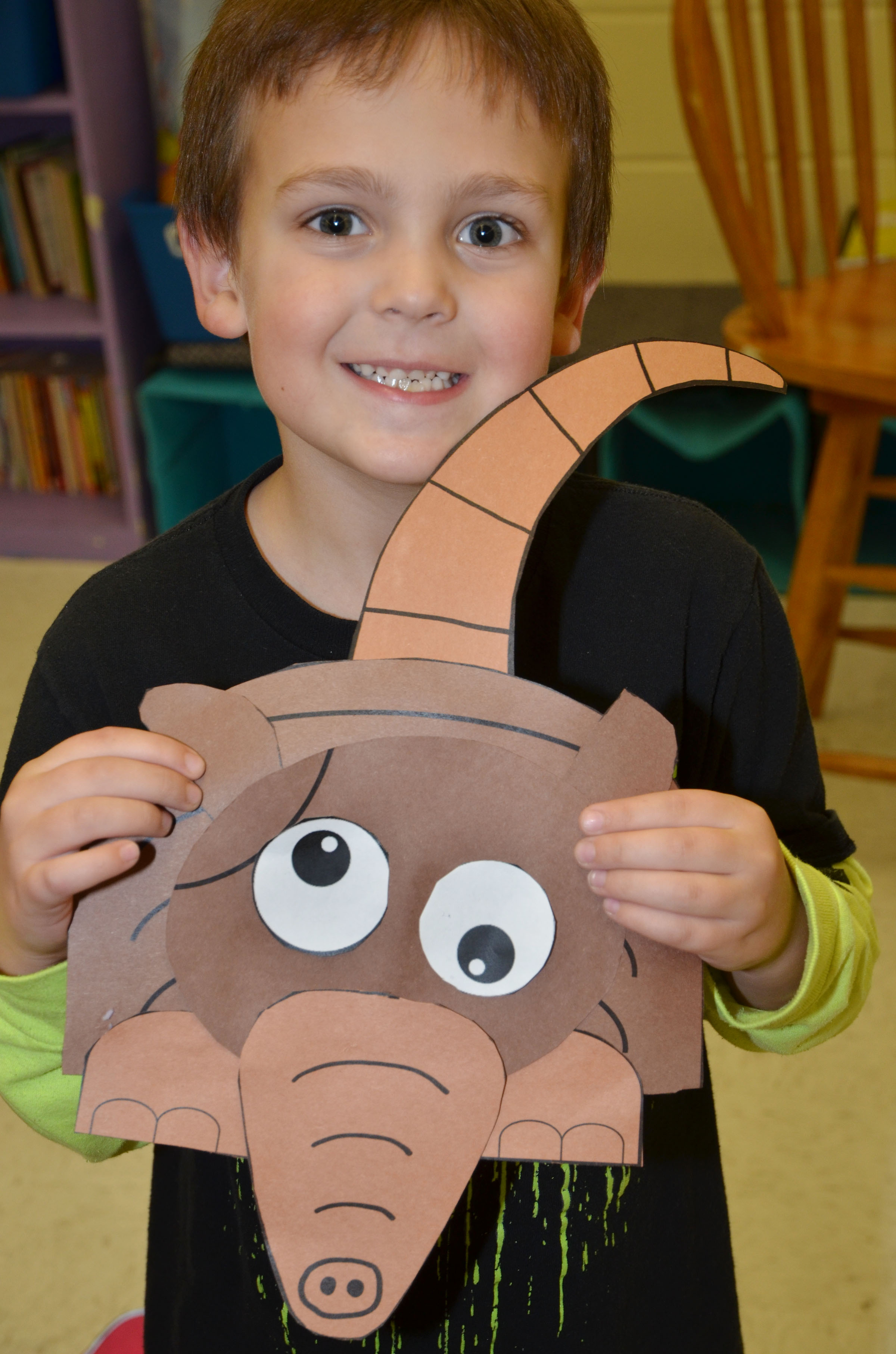 CES first-grader Brendan Martin holds his finished armadillo.