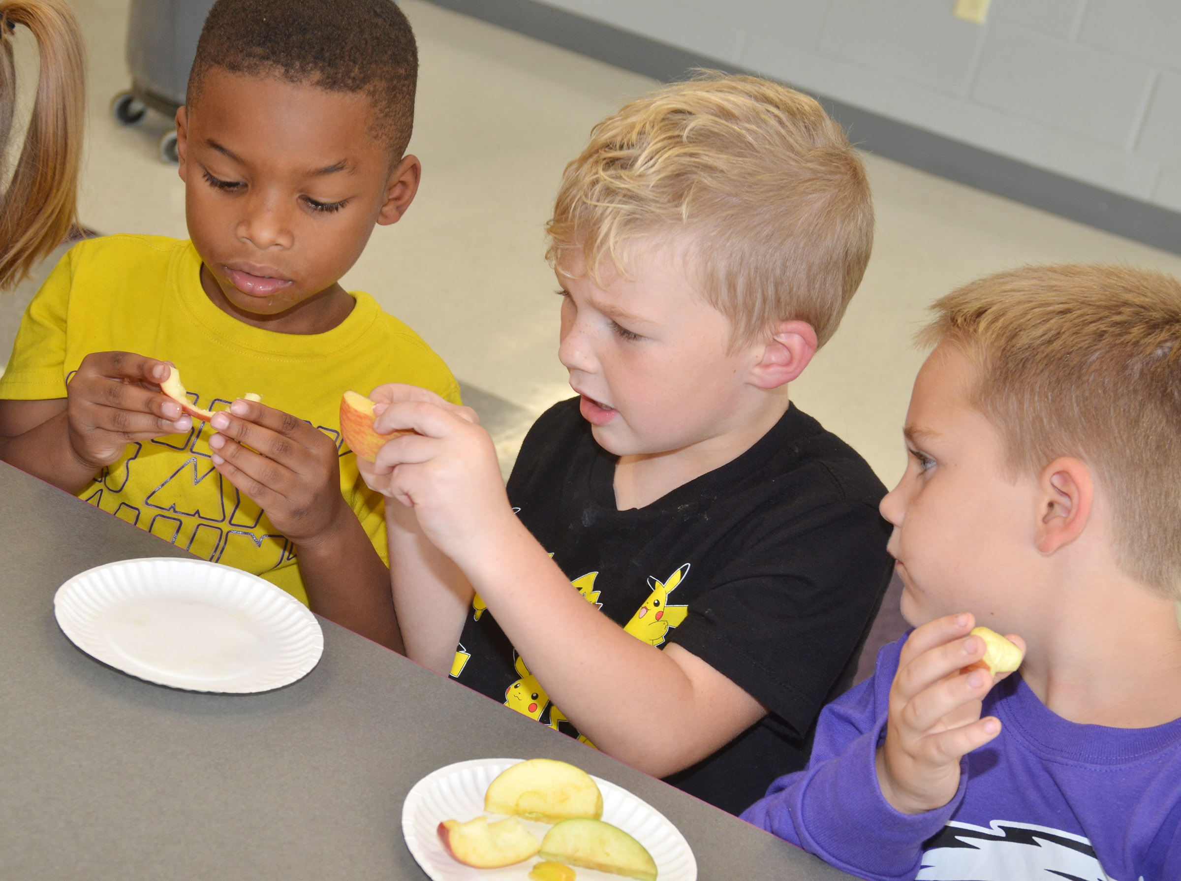 From left, CES Wings Express kindergarten students Kaiyden Vancleave, Landry Brown and Jacob Sandidge look at their different types of apples.