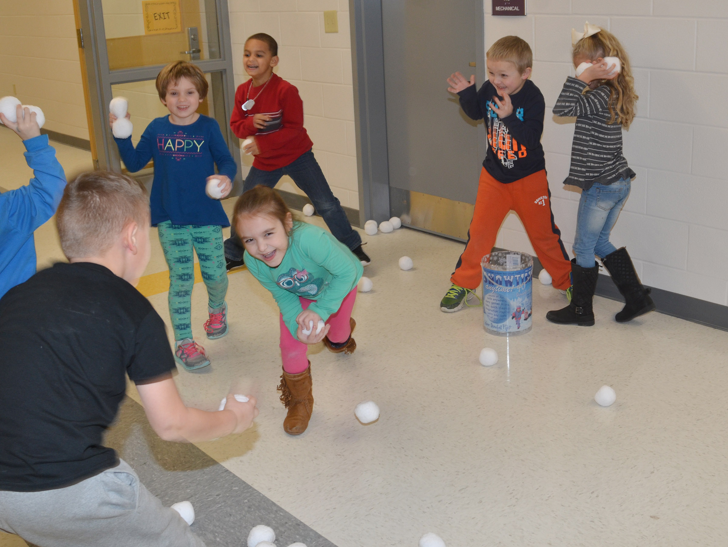CES kindergarteners battle it out in a snowball fight.