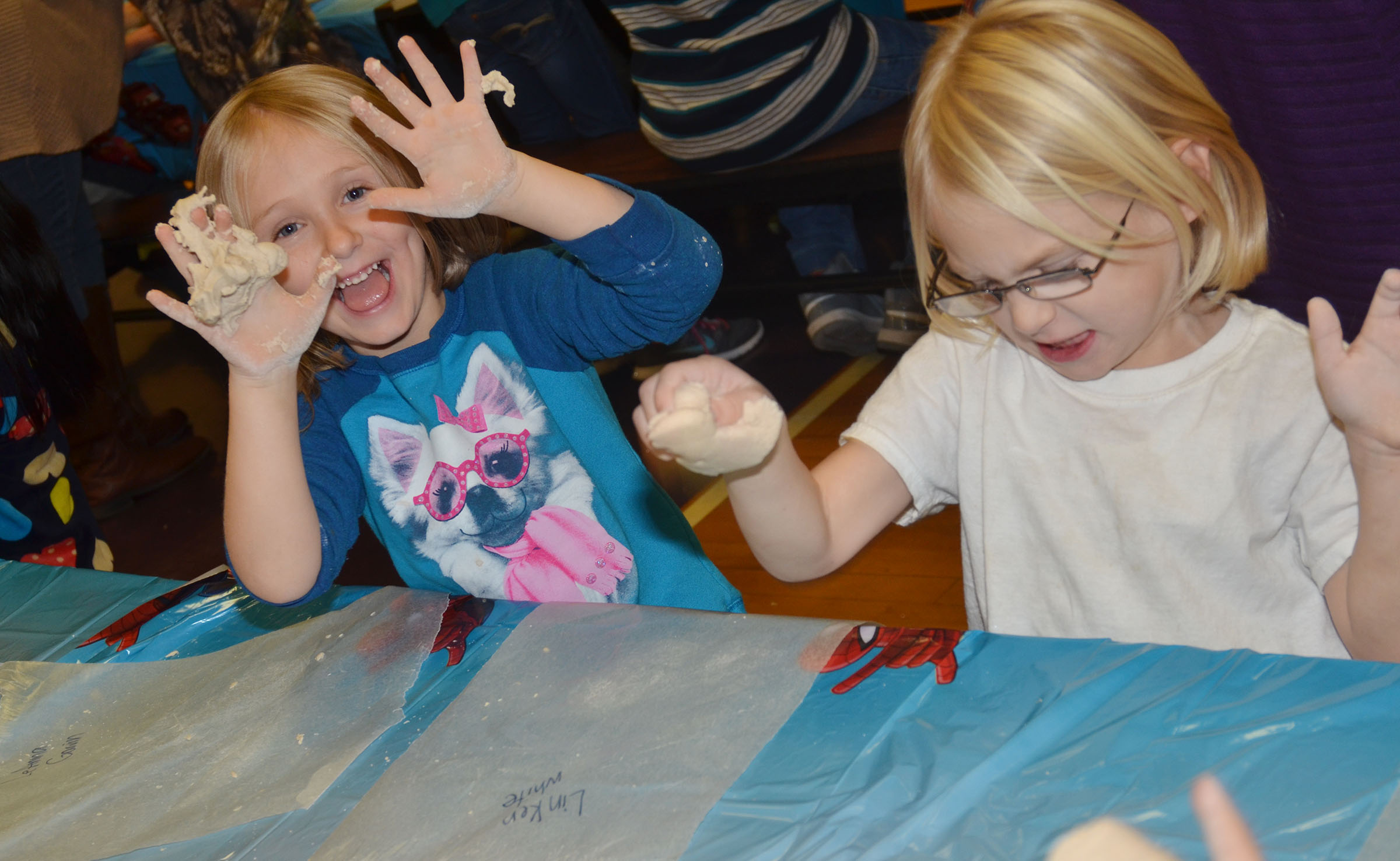 CES kindergarteners LeeAnna Garvin, at left, and Linken White have fun with their salt dough.