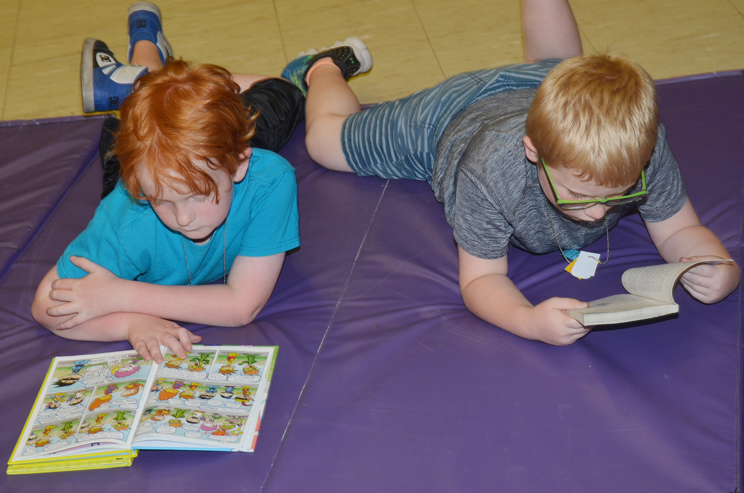 CES second-graders Gavin Martin, at left, and Aidan Bowles read together.
