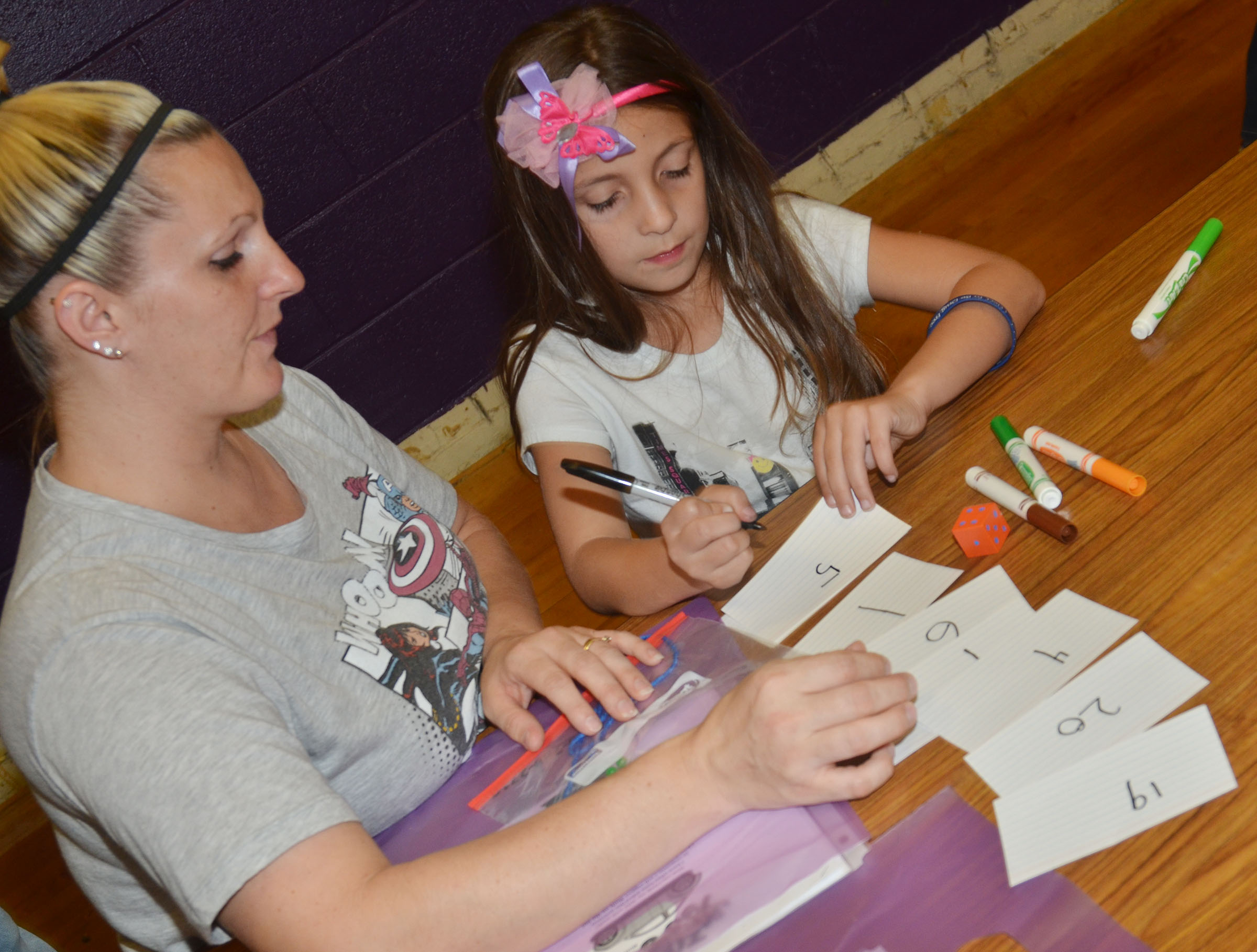Danielle Martin plays a math game with her daughter, Lillian, a first-grader at CES.