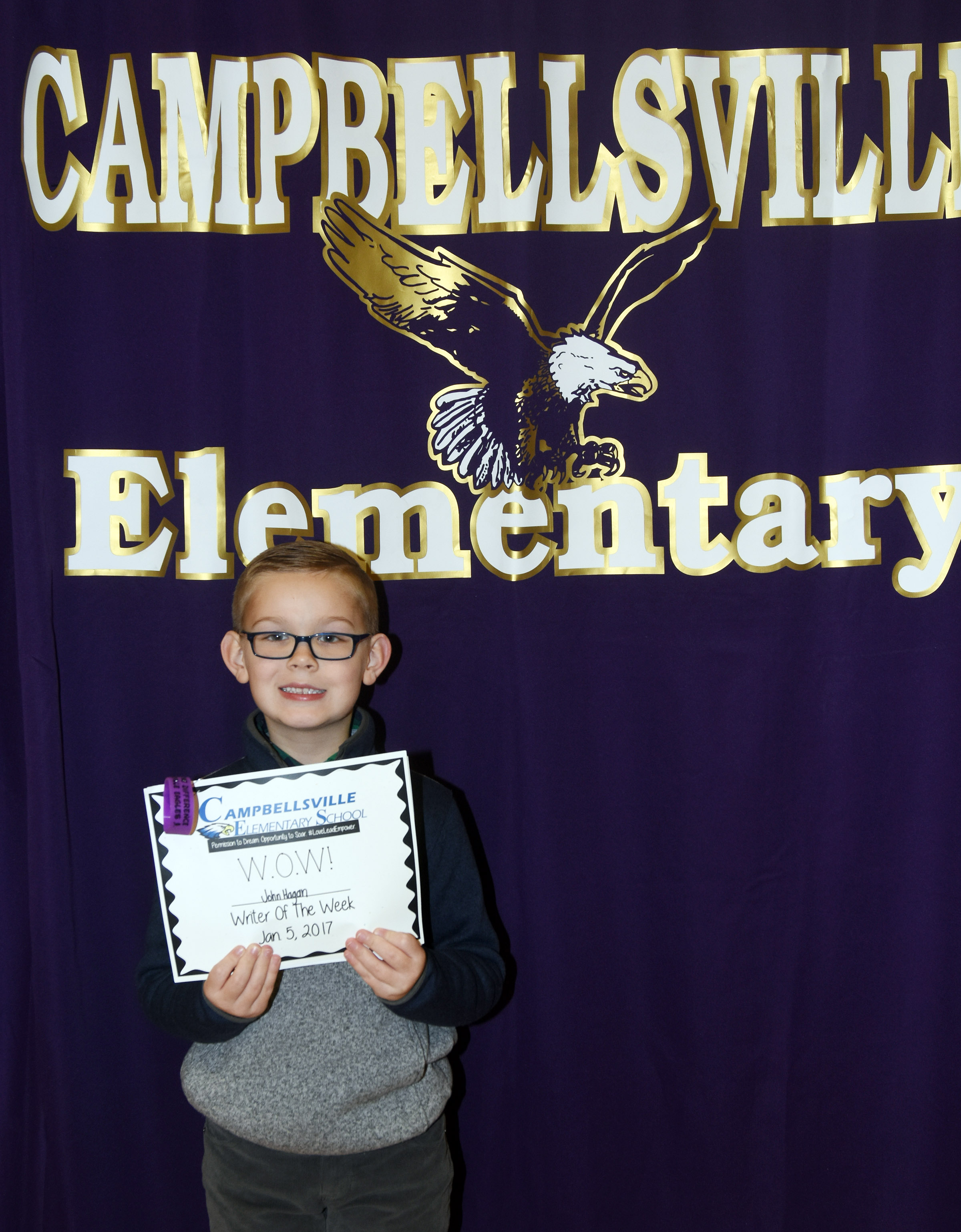 CES first-grader John Hagan Newton is his school's Writer of the Week for the week of Jan. 1.