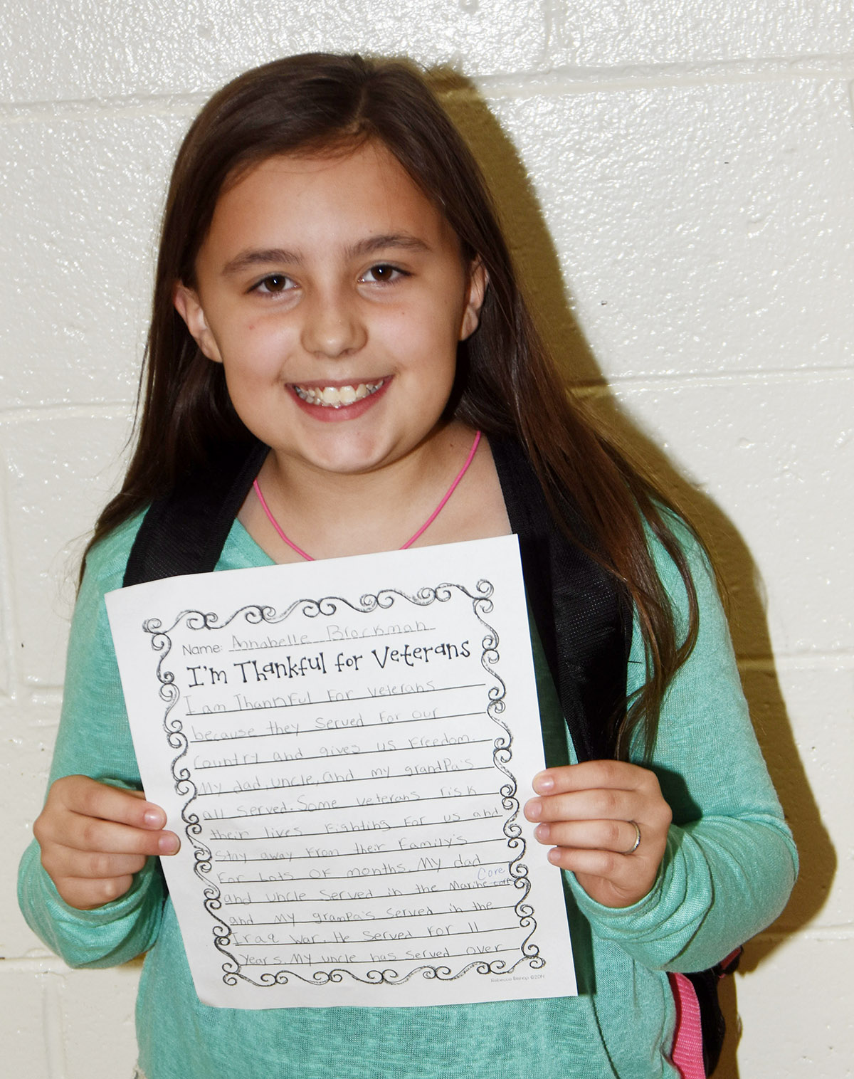 CES fourth-grader Annabelle Brockman was named Writer of the Week for the week of Nov. 12.