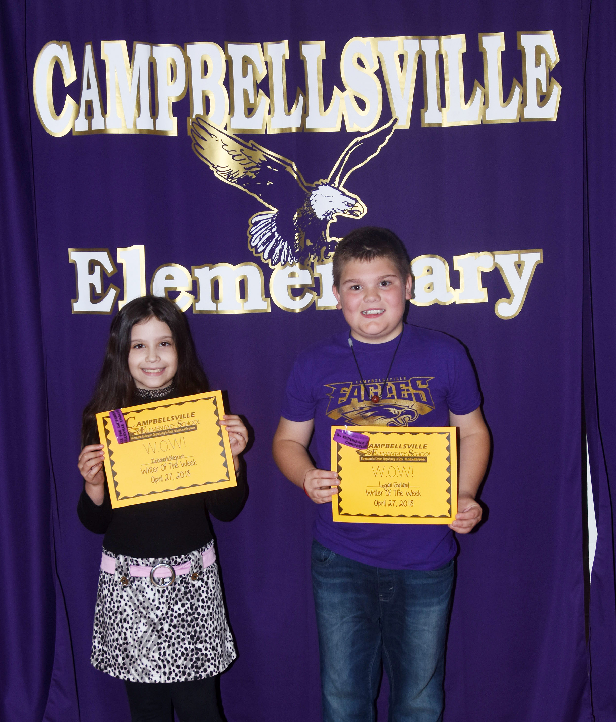 Writers of the Week for the week of April 23 are fourth-grader Zehavah Negron, at left, and fifth-grader Logan England.