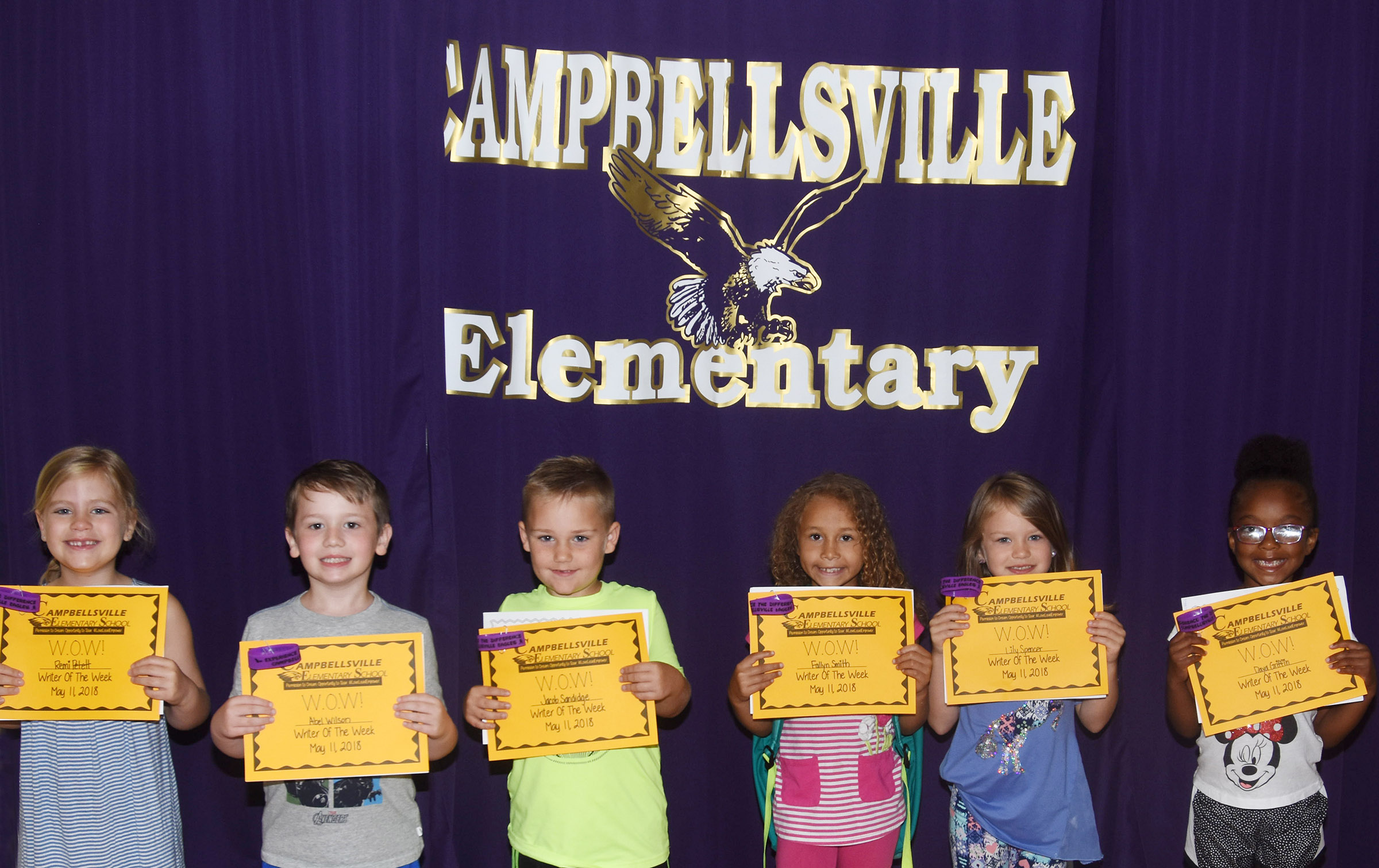 From left are kindergarteners Remi Petett, Abel Wilson, Jacob Sandidge, Fallyn Smith, Lily Spencer and Daya Griffin.