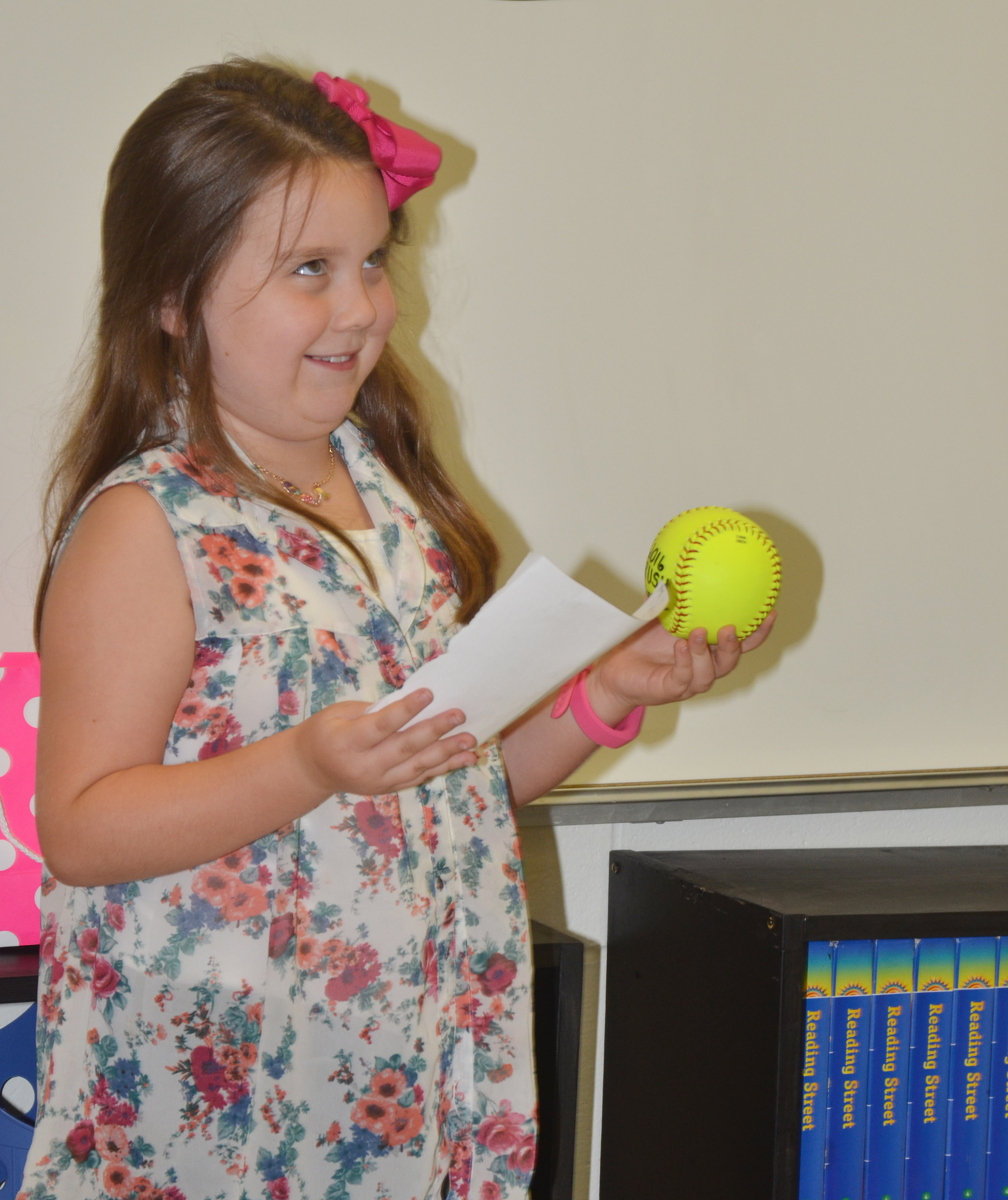 CES fourth-grader Maylee Wilds says she loves to play softball.