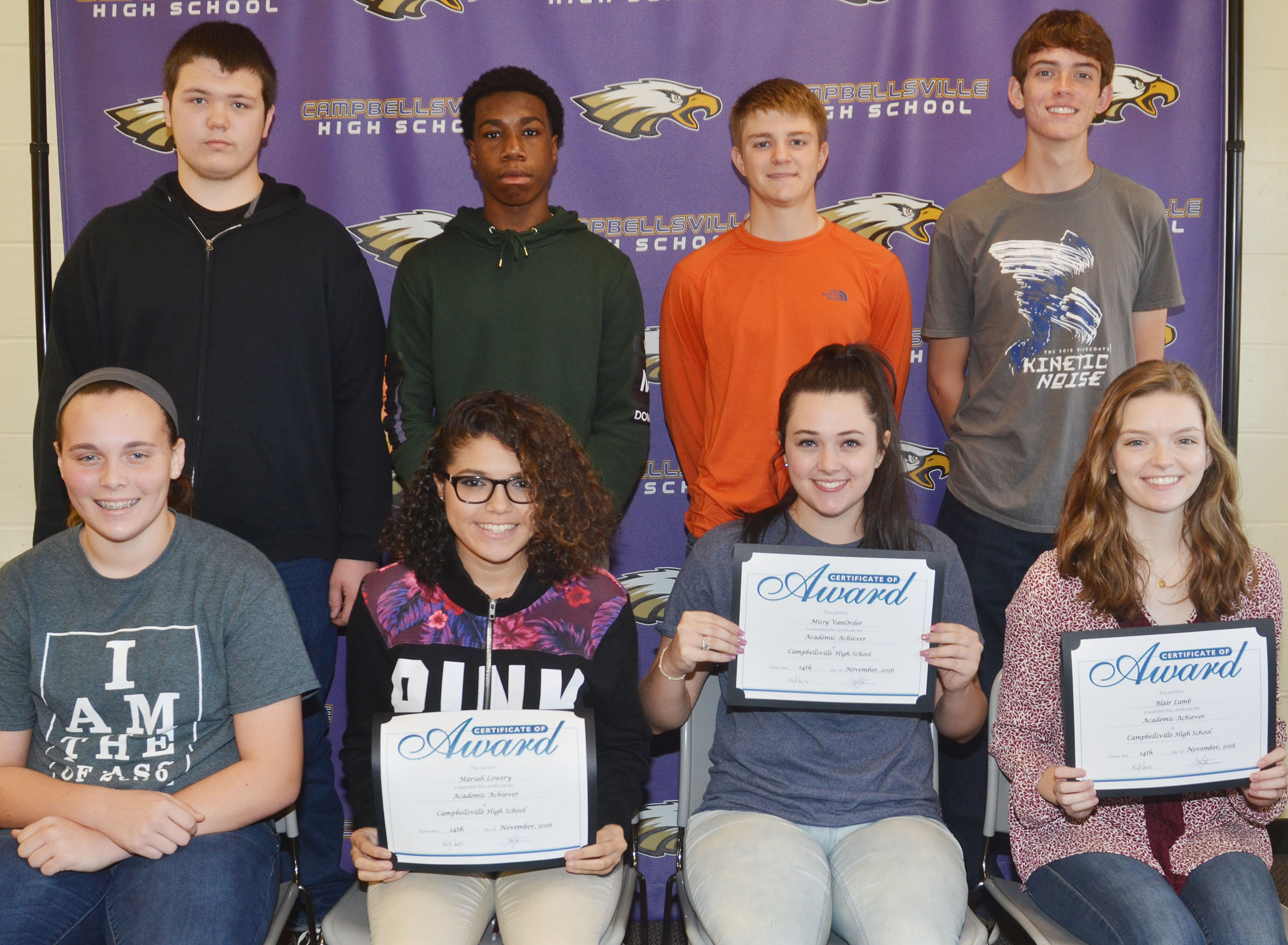 CHS students named Academic Achievers for November are, from left, front, freshman Katelyn Miller, sophomore Mariah Lowery, junior Missy Vanorder and senior Blair Lamb. Back, sophomore Jorden Perkins, freshman Malachi Corley, junior Alex Doss and senior Murphy Lamb.