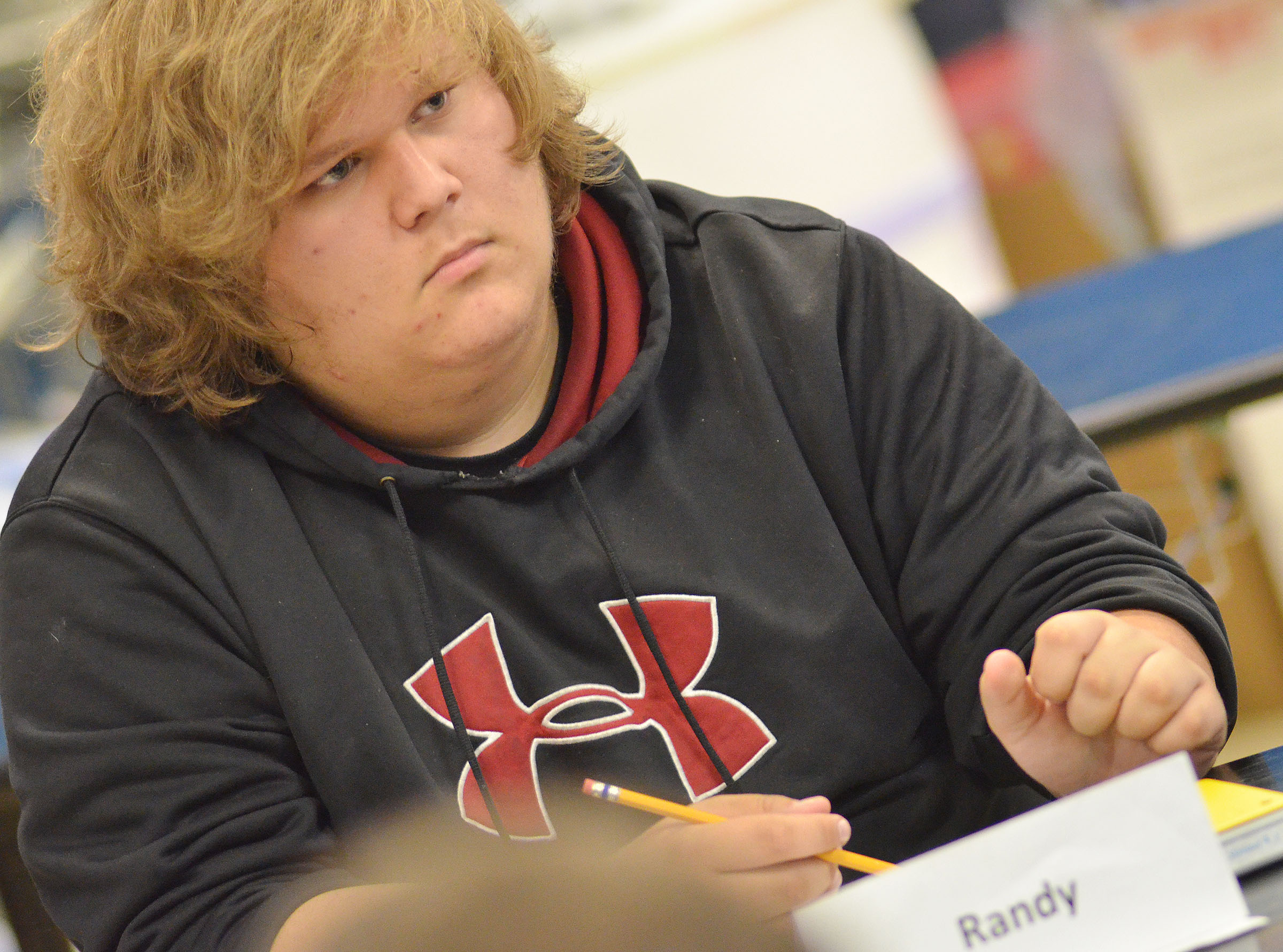 CHS sophomore Randy Harris listens to a question.