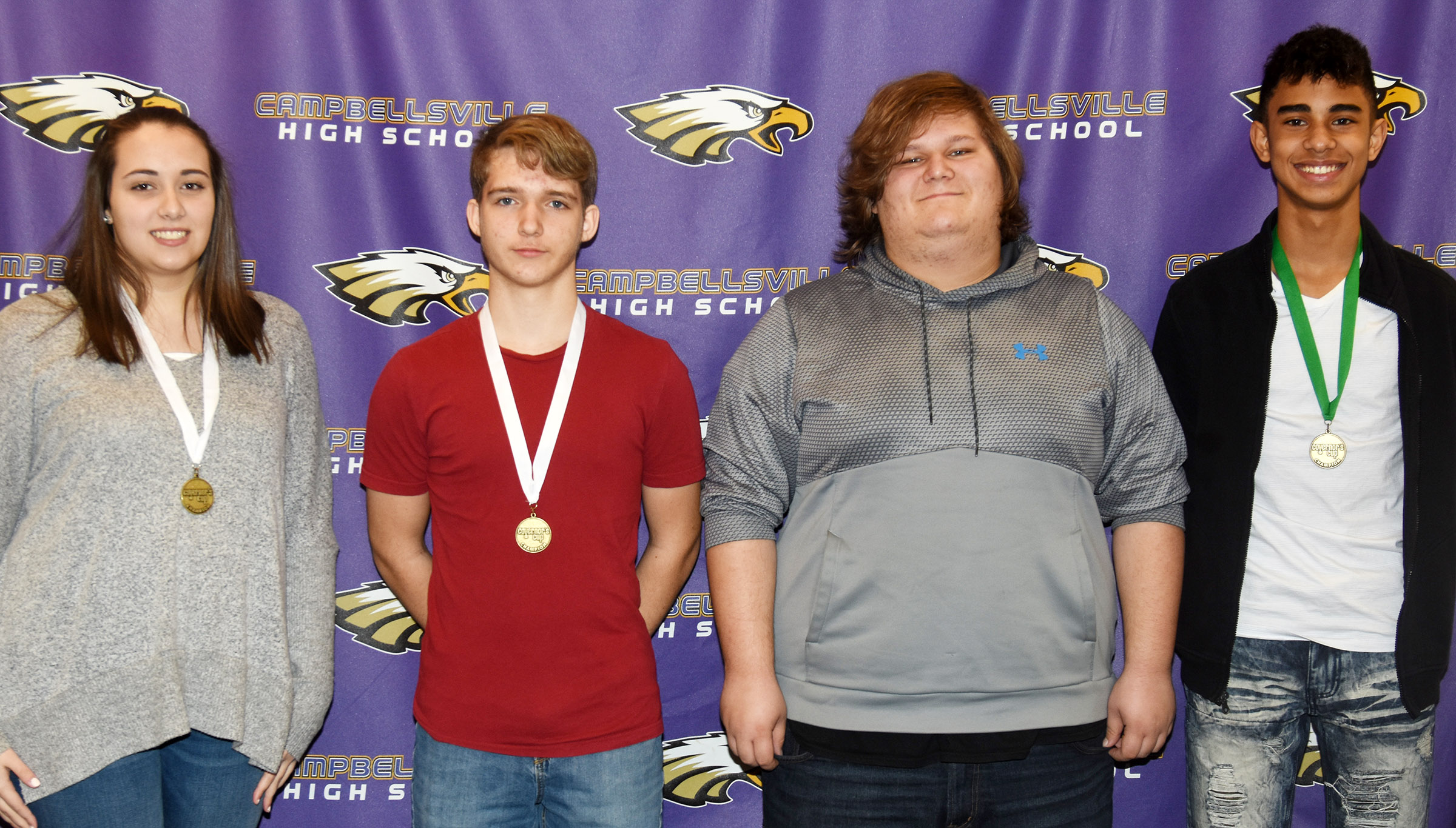 Campbellsville High School academic team members competed in District Governor's Cup competition on Saturday, Jan. 27. Based on their scores, four CHS students will advance to region competition. Advancing are, from left, CHS junior Elizabeth Sullivan in composition, sophomore Tristin Lopez in math, junior Randy Harris in arts and humanities and sophomore David Silva in science.
