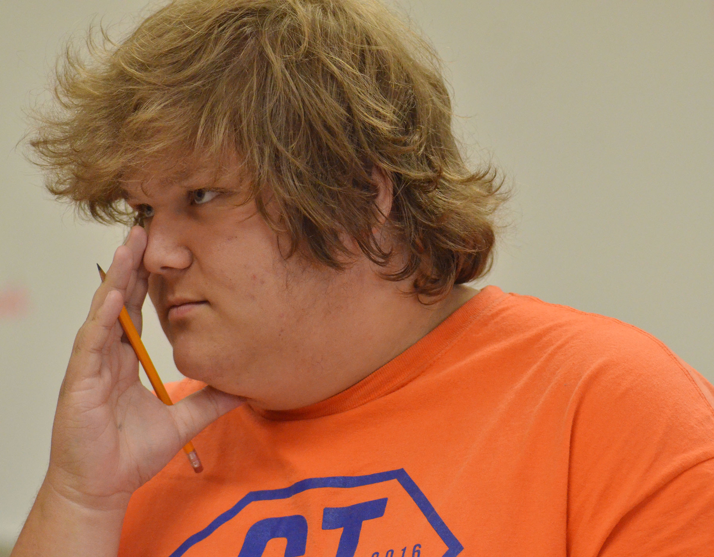 CHS sophomore Randy Harris thinks about a question.
