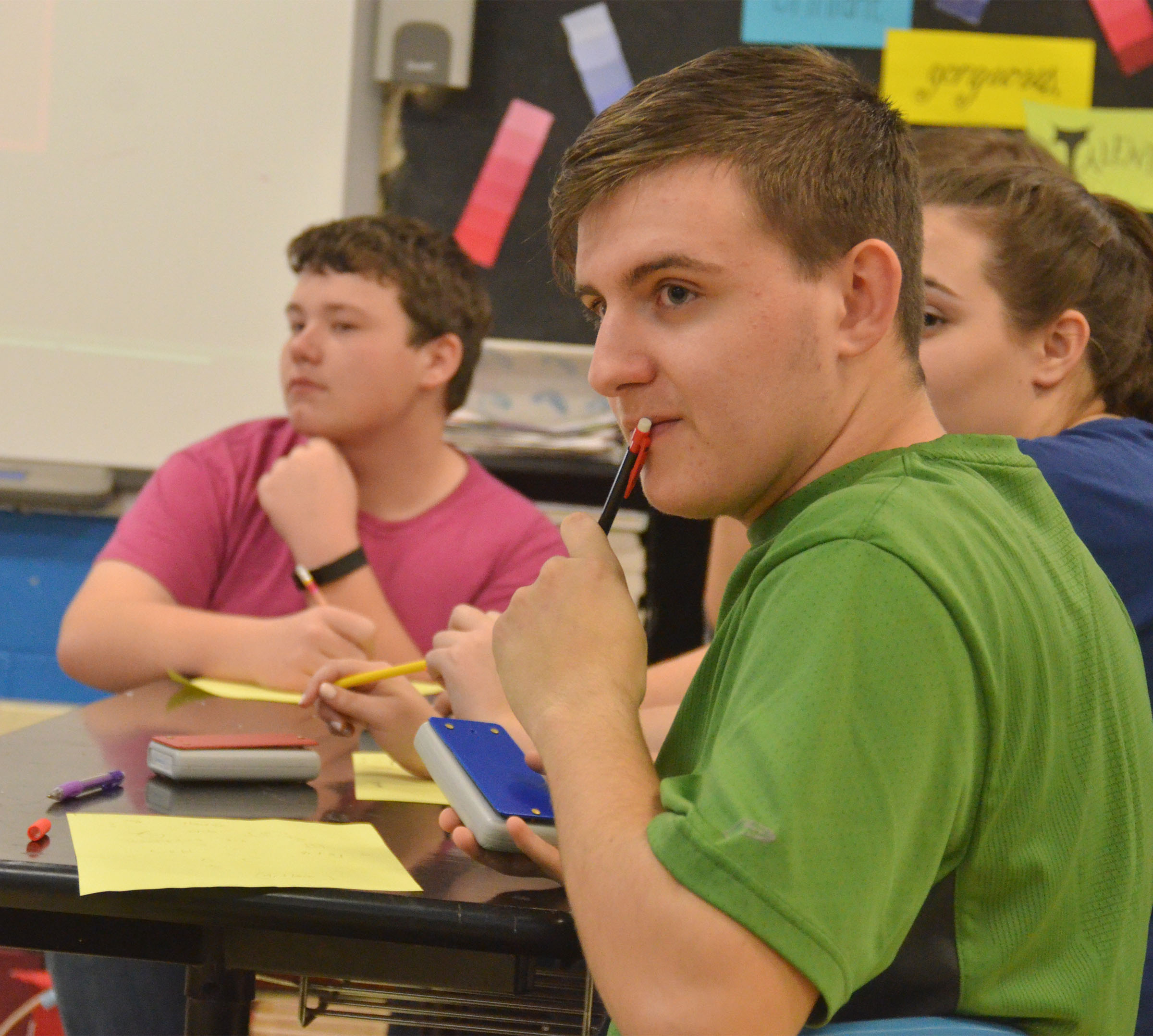 CHS junior Austin Fitzgerald listens to a question.
