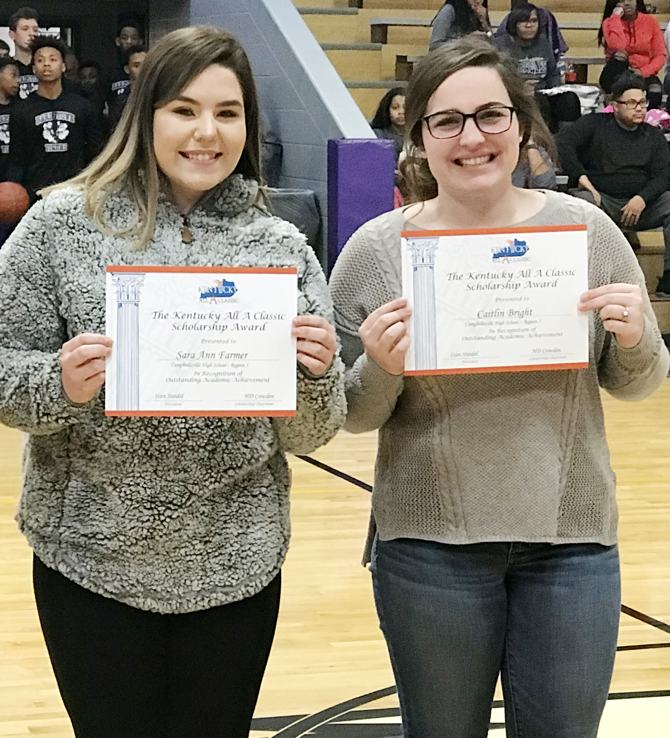 Campbellsville High School seniors Sara Farmer, at left, and Caitlin Bright recently received academic scholarships to help them attend college.