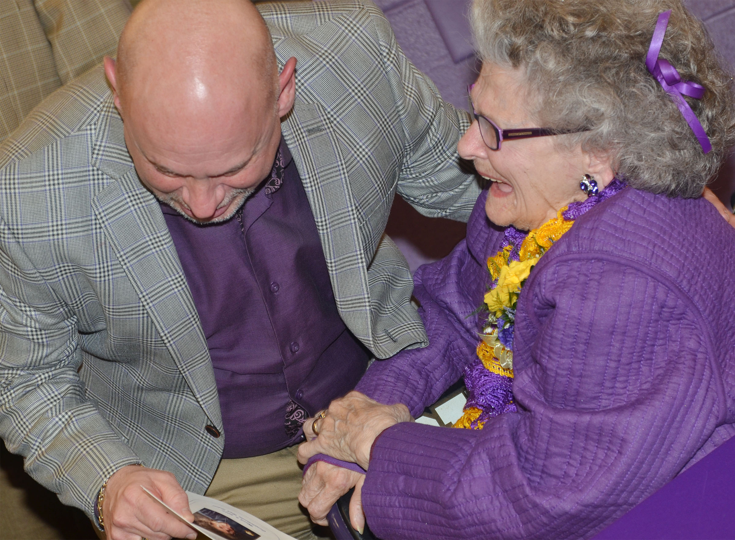 Former CHS employee Anne Fraim shares a laugh with Campbellsville Board of Education Vice Chair Mitch Overstreet.