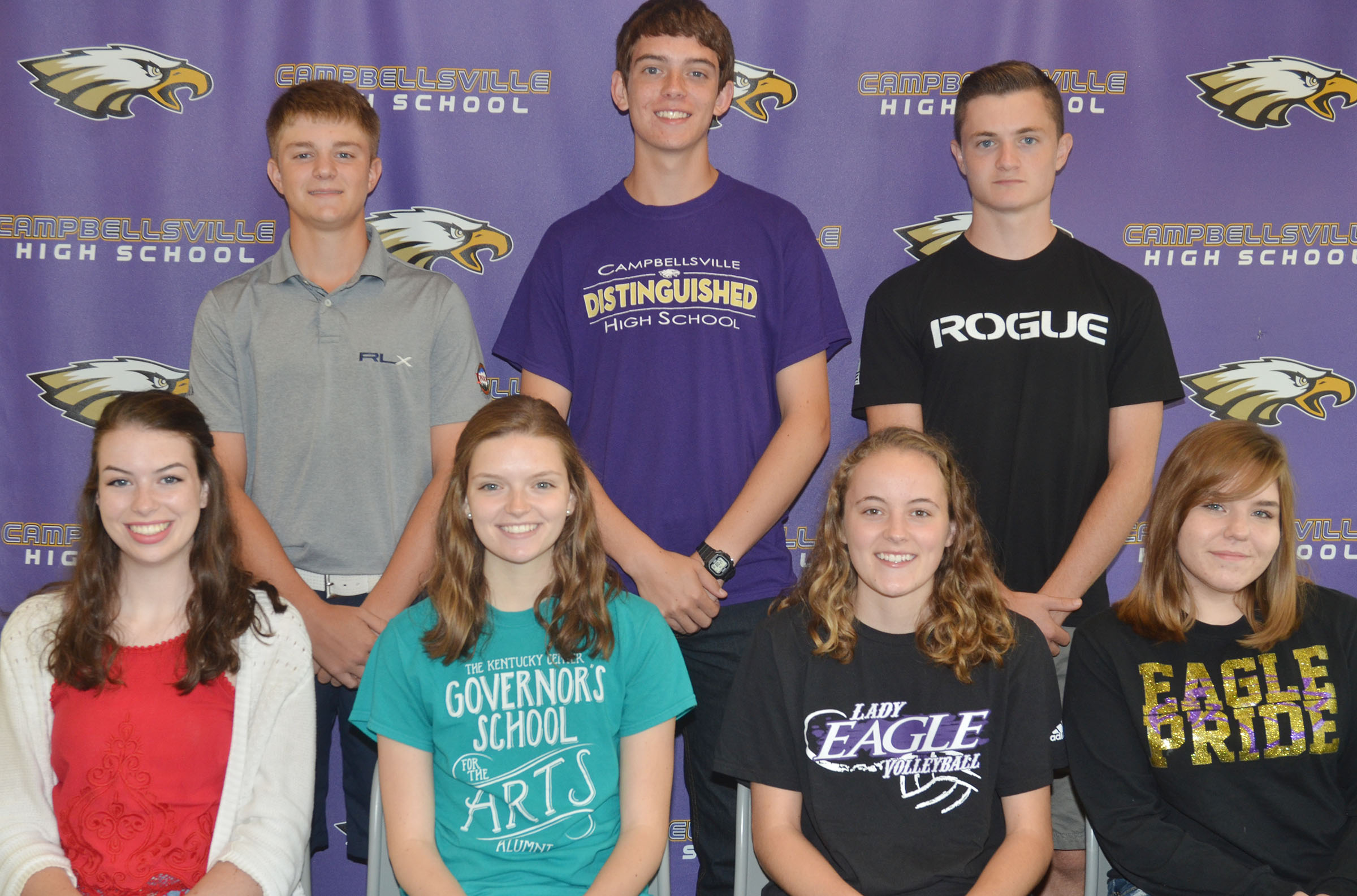 About 60 students took AP tests at the end of the 2015-2016 school year. Several students were recently honored for receiving top scores on the exams. They are, from left, front, seniors Laura Lamb, Blair Lamb and Caroline McMahan and junior Sara Farmer. Back, junior Alex Doss, senior Murphy Lamb and junior Bryce Richardson. Samuel Kessler also received high marks on the AP exams. He is attending Gatton Academy to complete his high school studies.