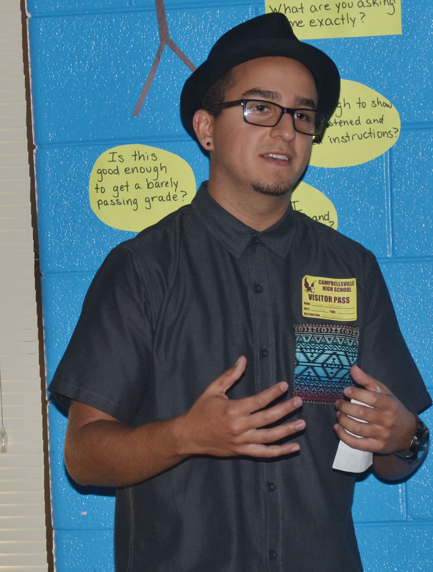 Campbellsville University student and artist Diego Cardenas recently spoke to CHS art students about his graffiti and mural style of art.