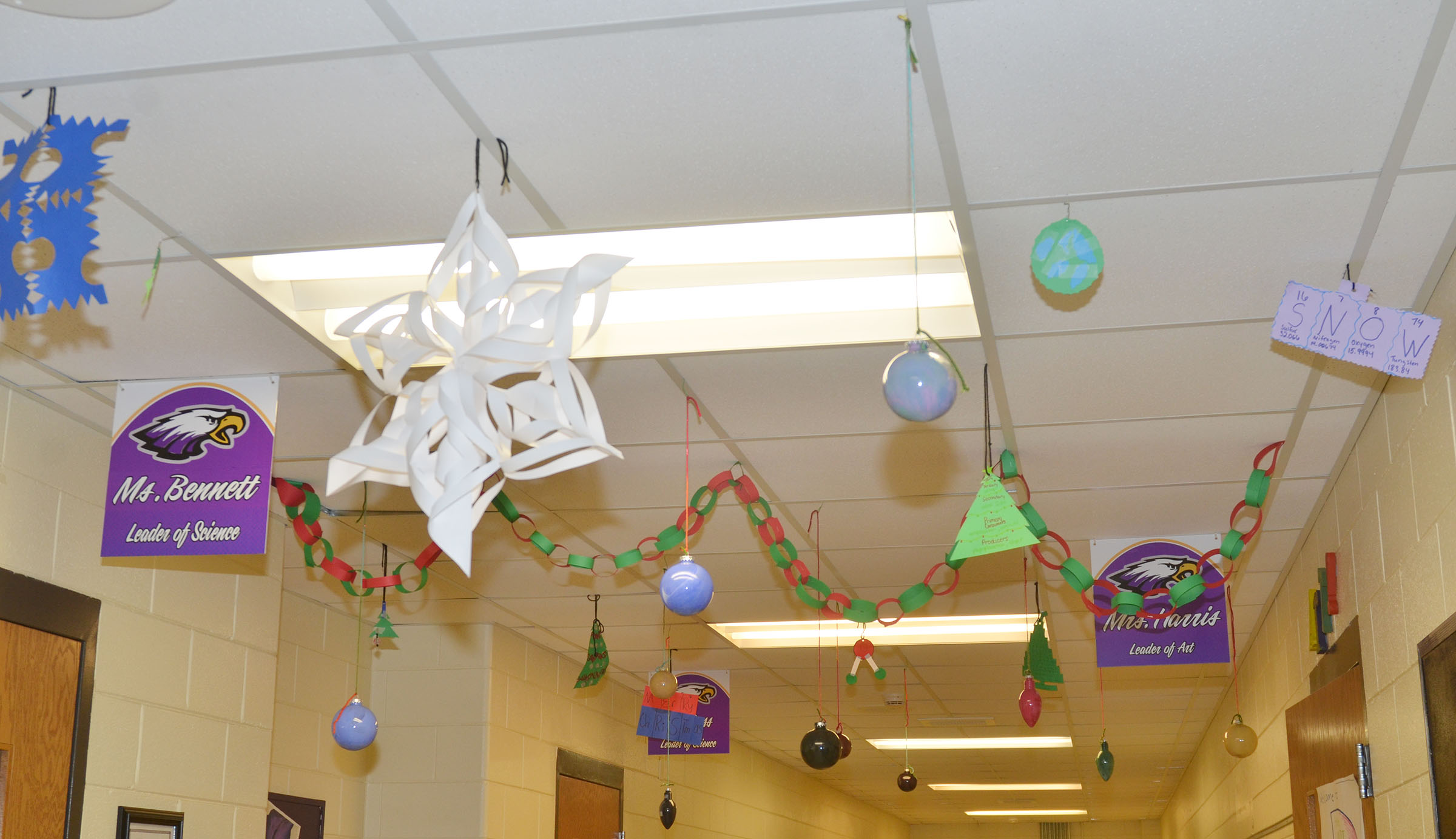 Campbellsville High School science and art students recently decorated the school hallway to give it some Christmas cheer.