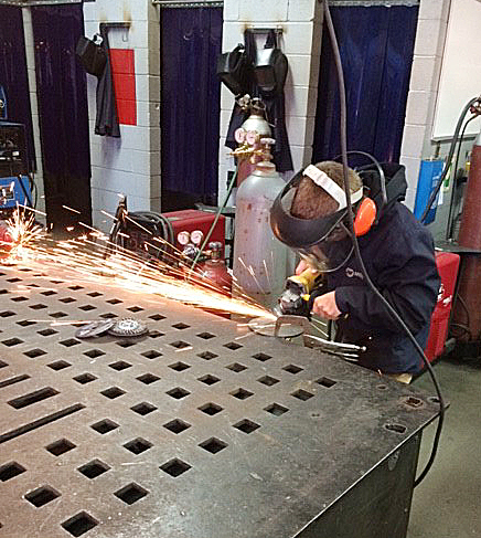 CHS sophomore Kelson Griffiths learns to weld at the Green County Area Technology Center.