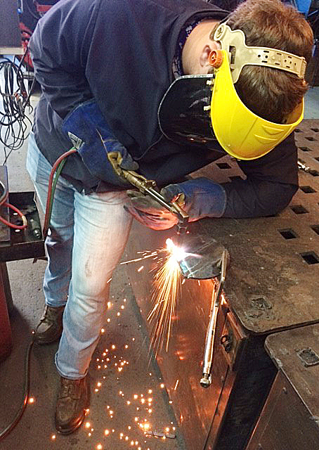 CHS junior Lane Bottoms learns to weld at the Green County Area Technology Center.