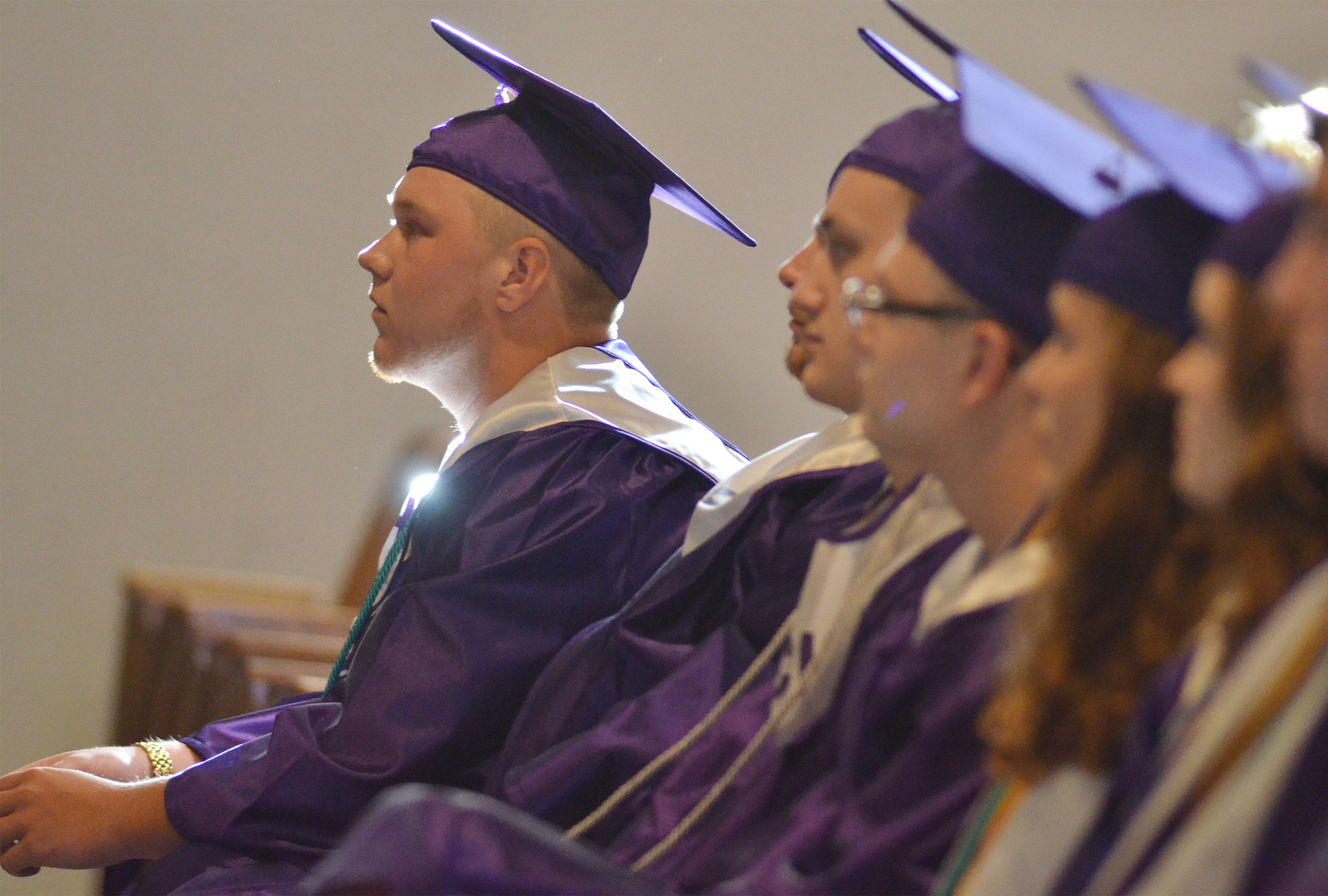 CHS senior Noah Wagers and his classmates listen as his father Steve brings the baccalaureate message.