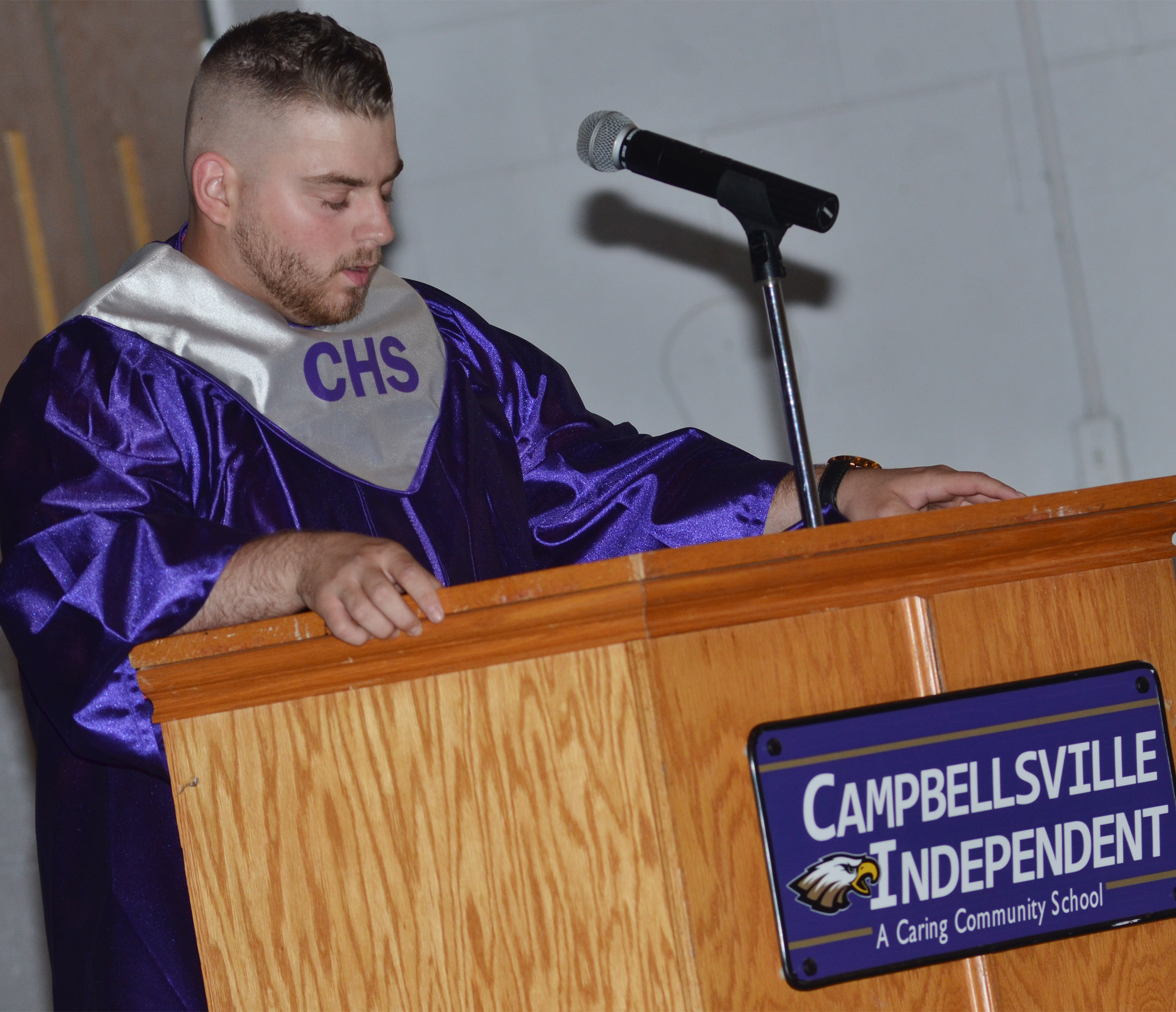 CHS senior Jon Tanner Coppage delivers the benediction.