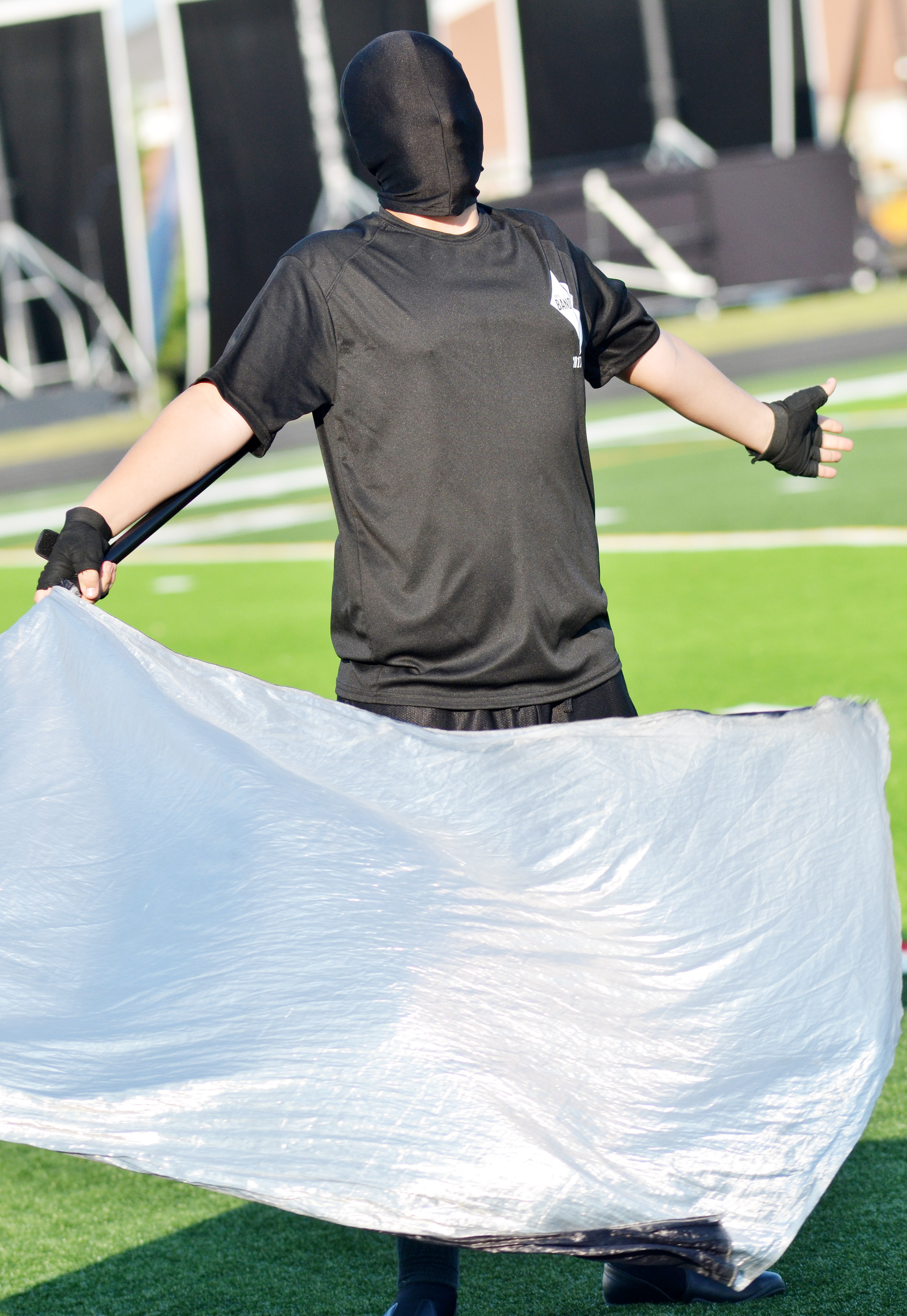 CHS freshman Nick Drew performs with the color guard.