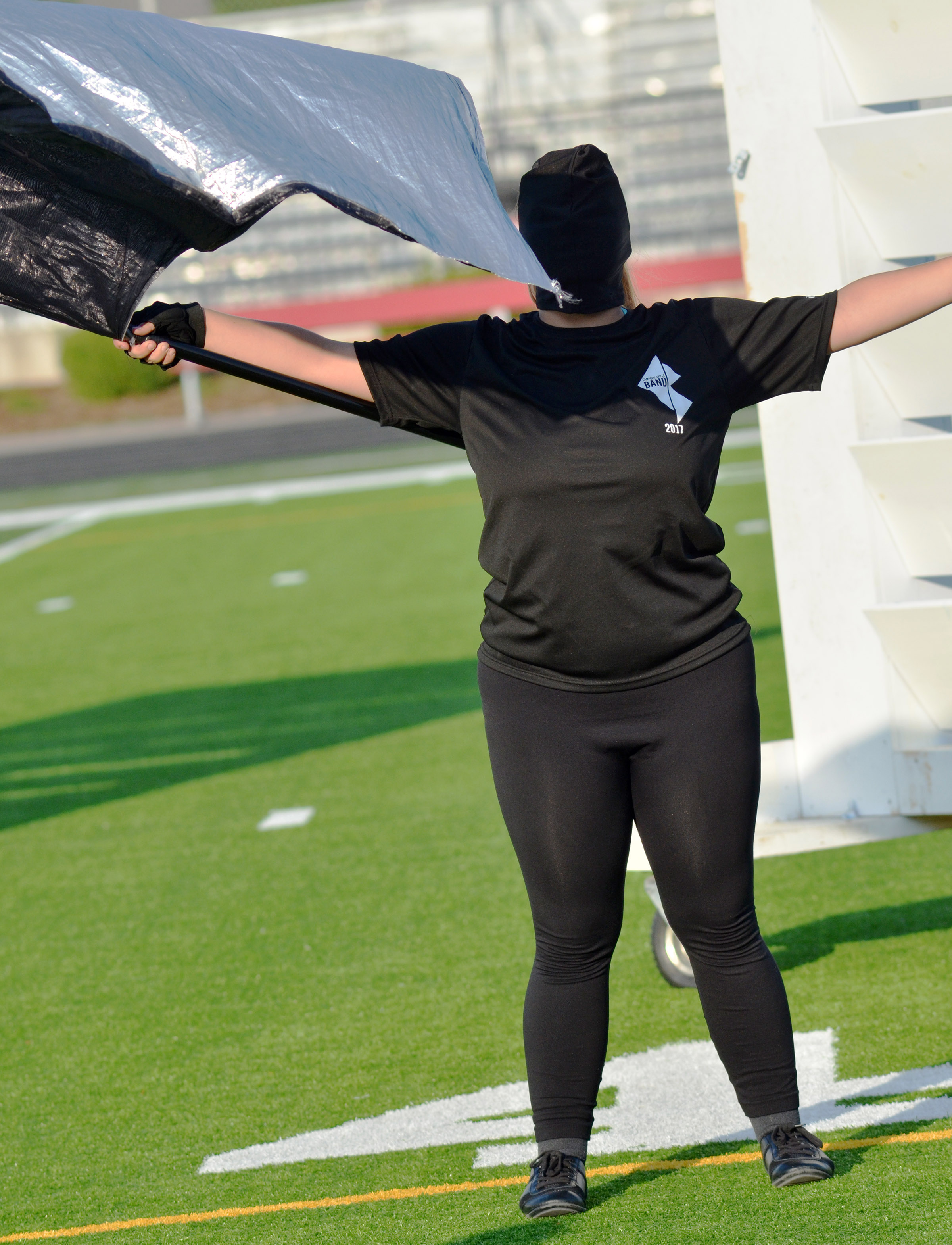 CHS sophomore Autumn Babbs performs with the color guard.