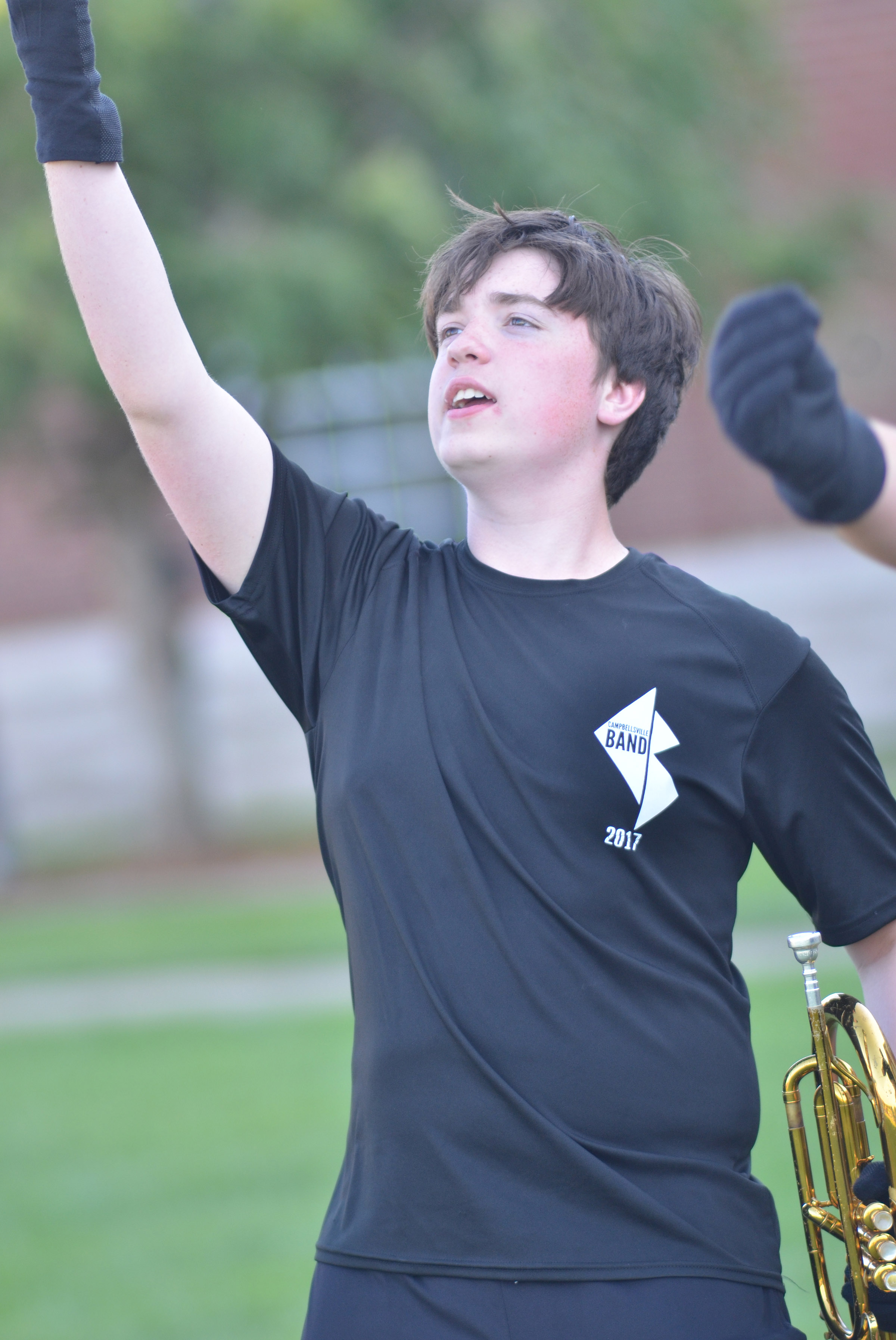 CHS sophomore Grant Rinehart performs during warmup.
