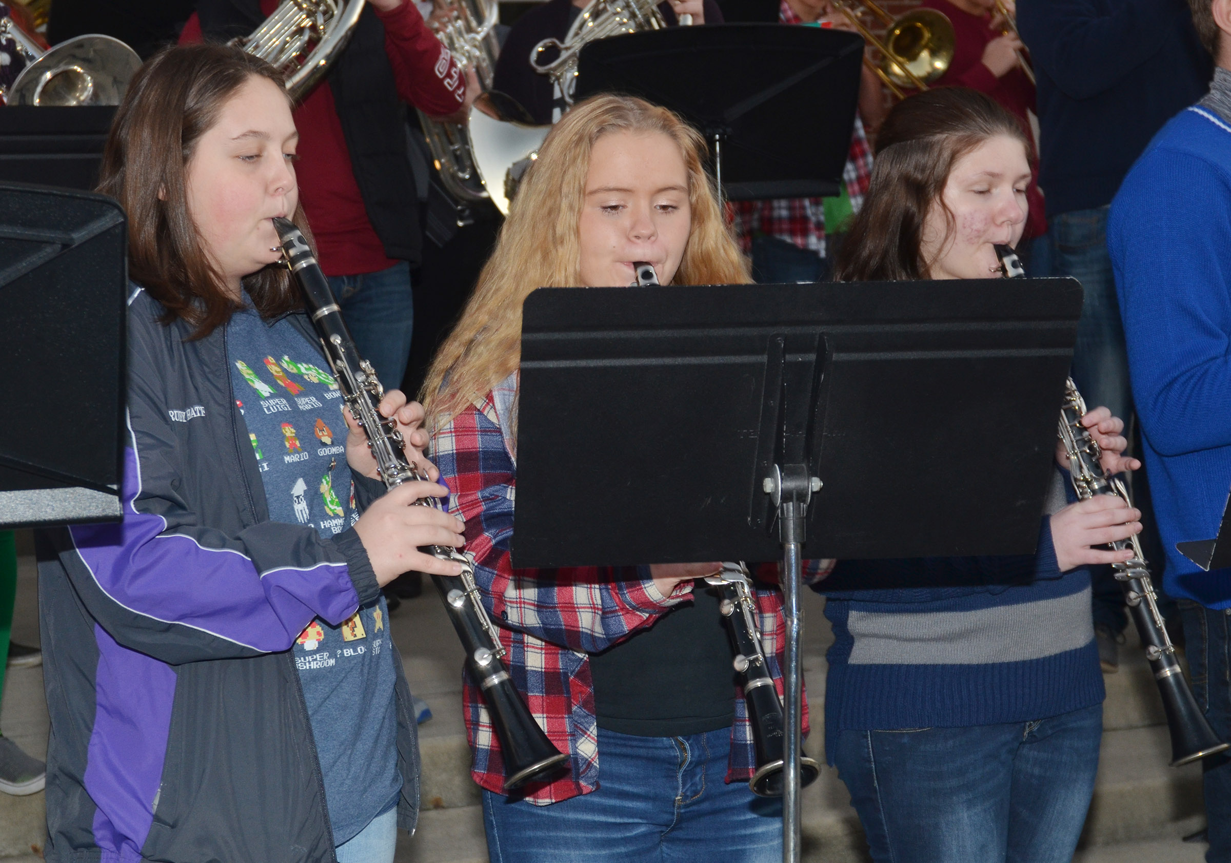 From left, CHS junior Ruby Hatfield, freshman Riley Rainwater and Campbellsville Middle School eighth-grader Skyler Olinski play clarinet.
