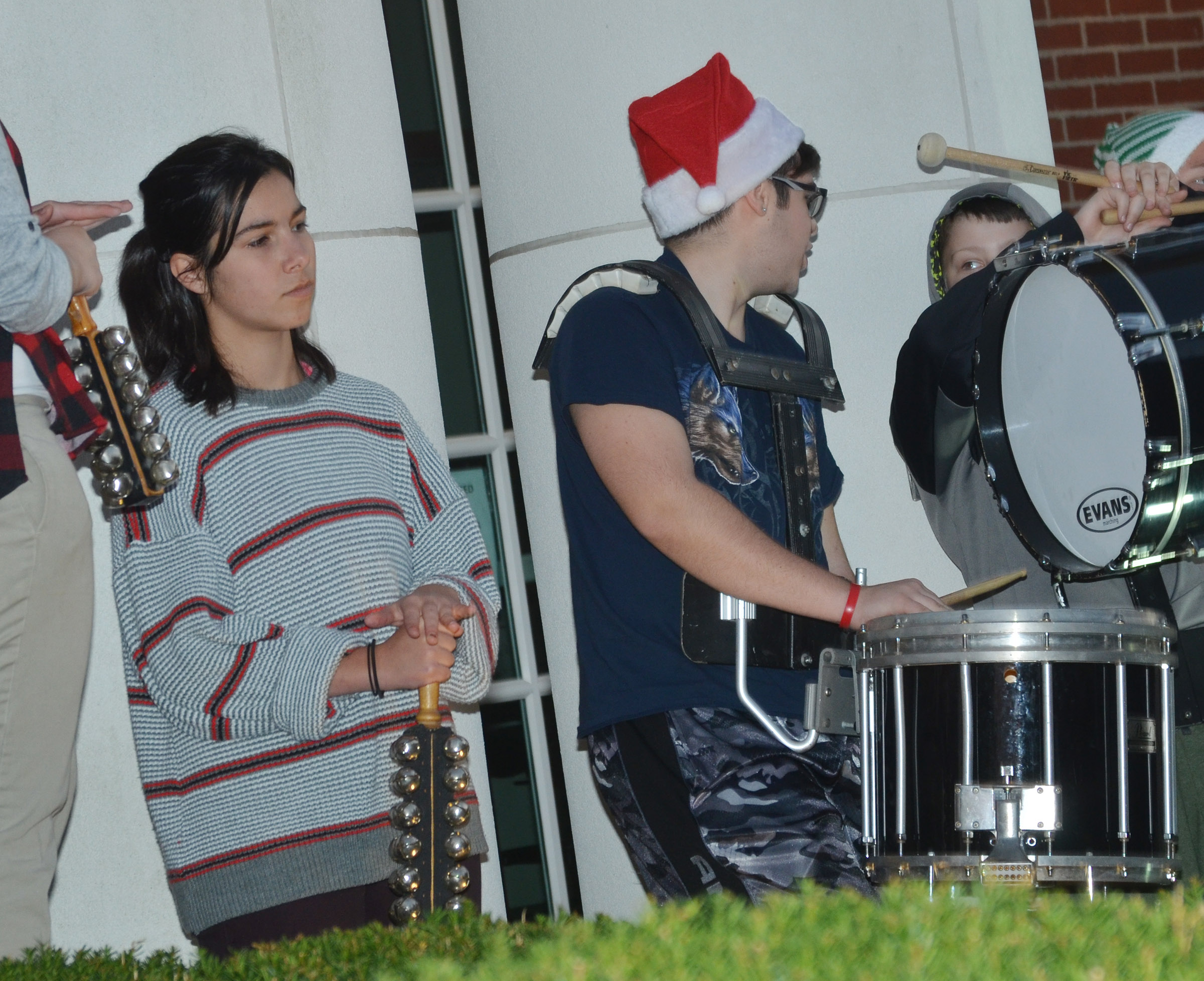 From left, CHS juniors Celeste Hassman and Kyler Rakes and Campbellsville Middle School eighth-grader Bailey Stearman play percussion.