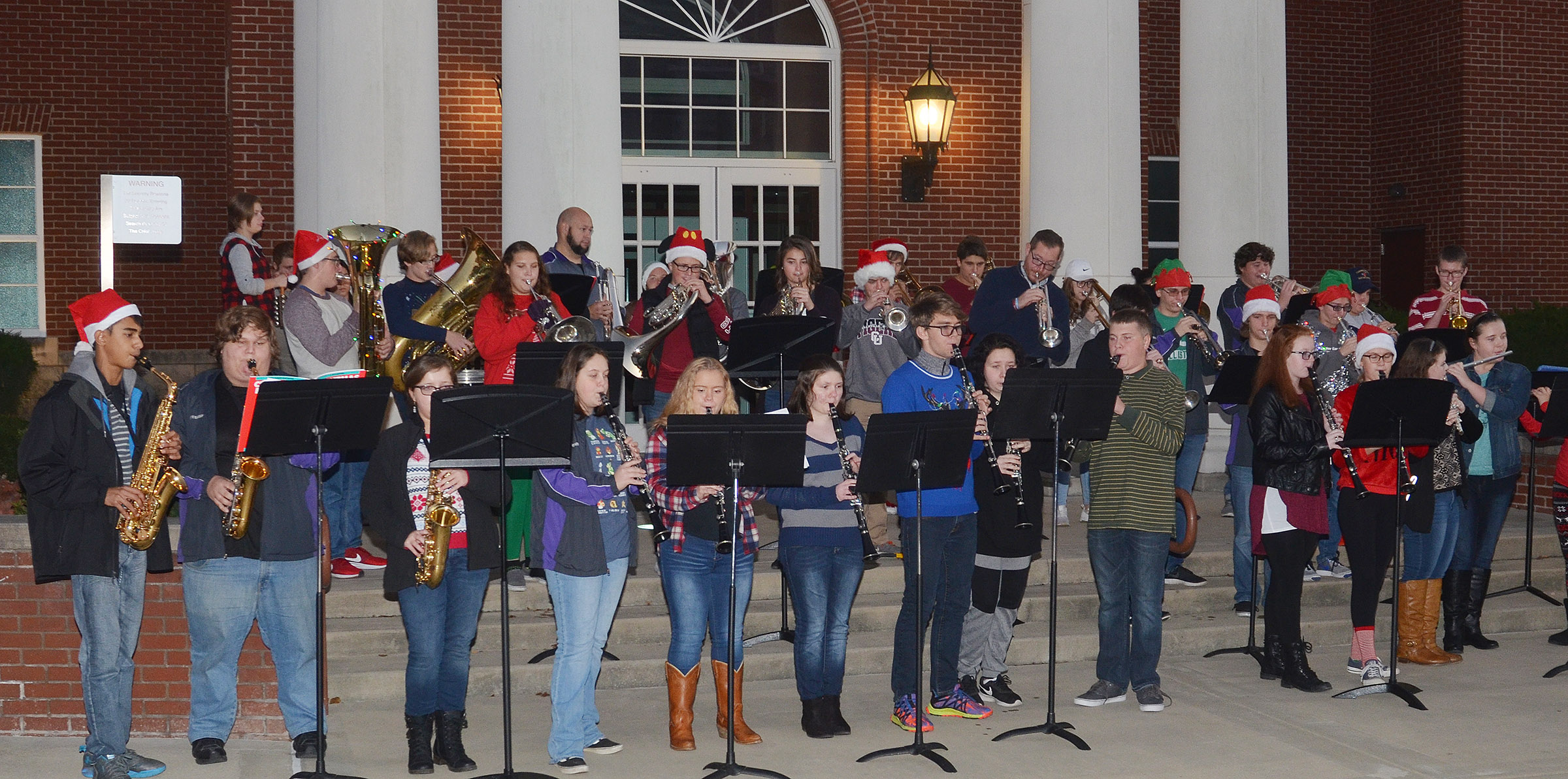 CHS band members combine with Taylor County band students to play Christmas music.