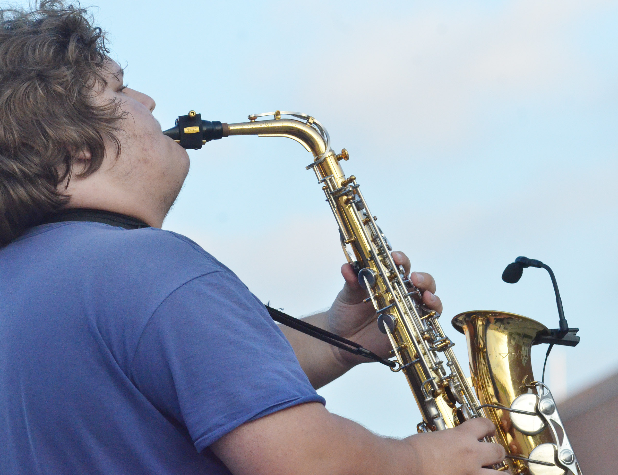 CHS junior Randy Harris plays saxophone during the last practice of the season.