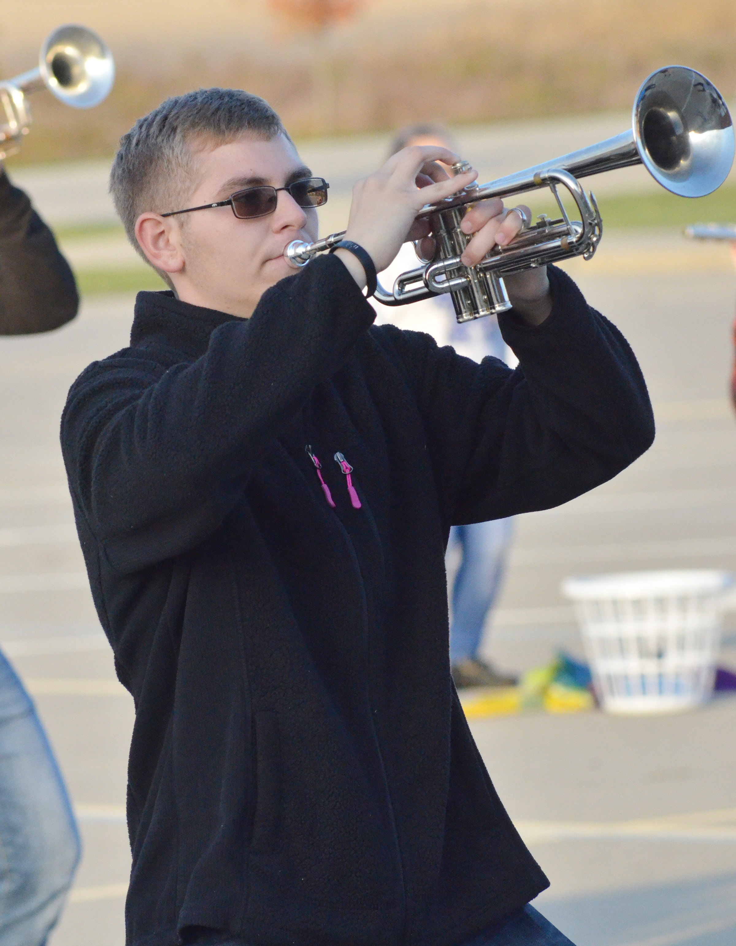 CHS junior Brandon Greer plays trumpet during the last practice of the season.
