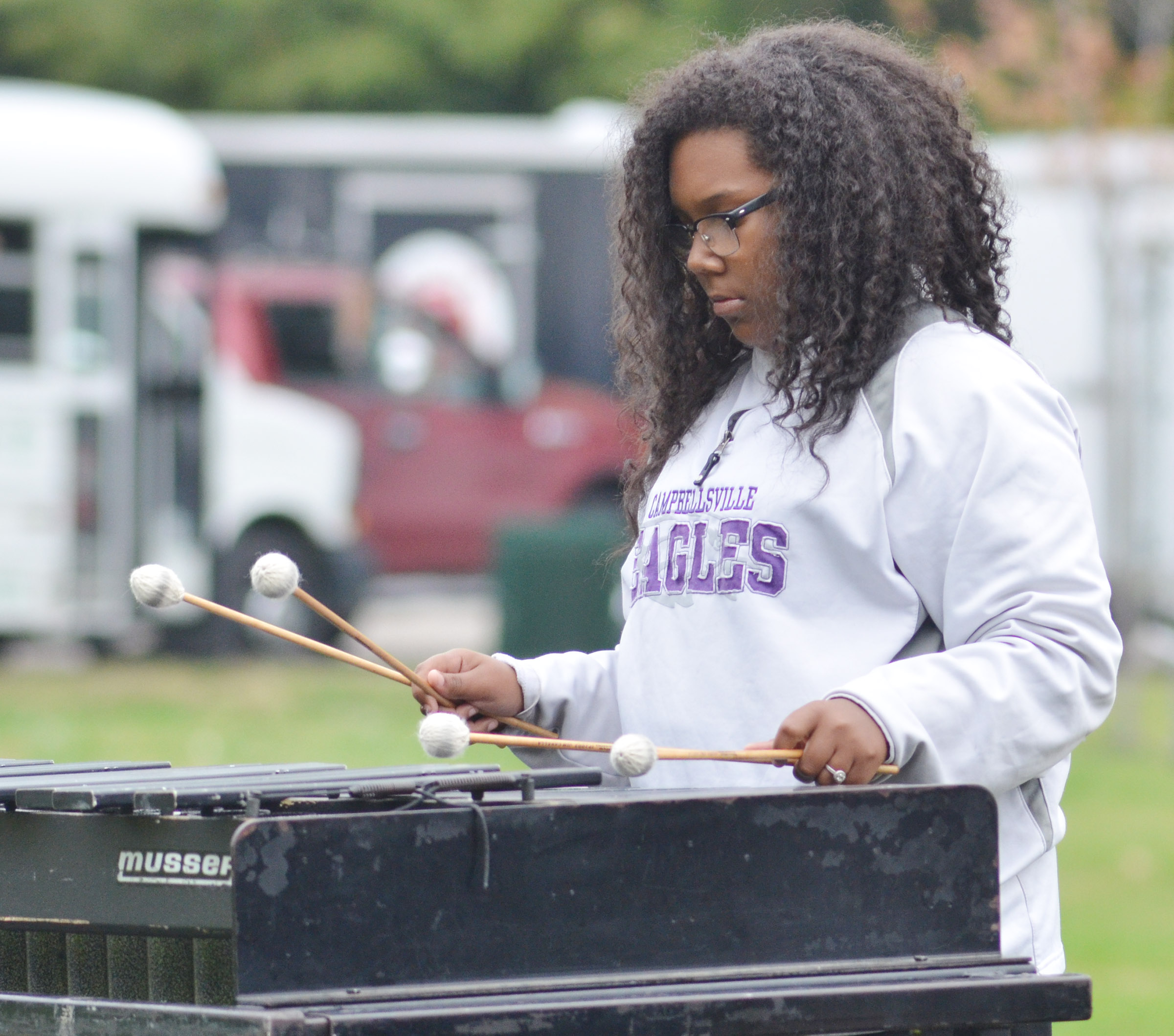 CHS sophomore Zaria Cowan plays percussion in semi-finals competition.
