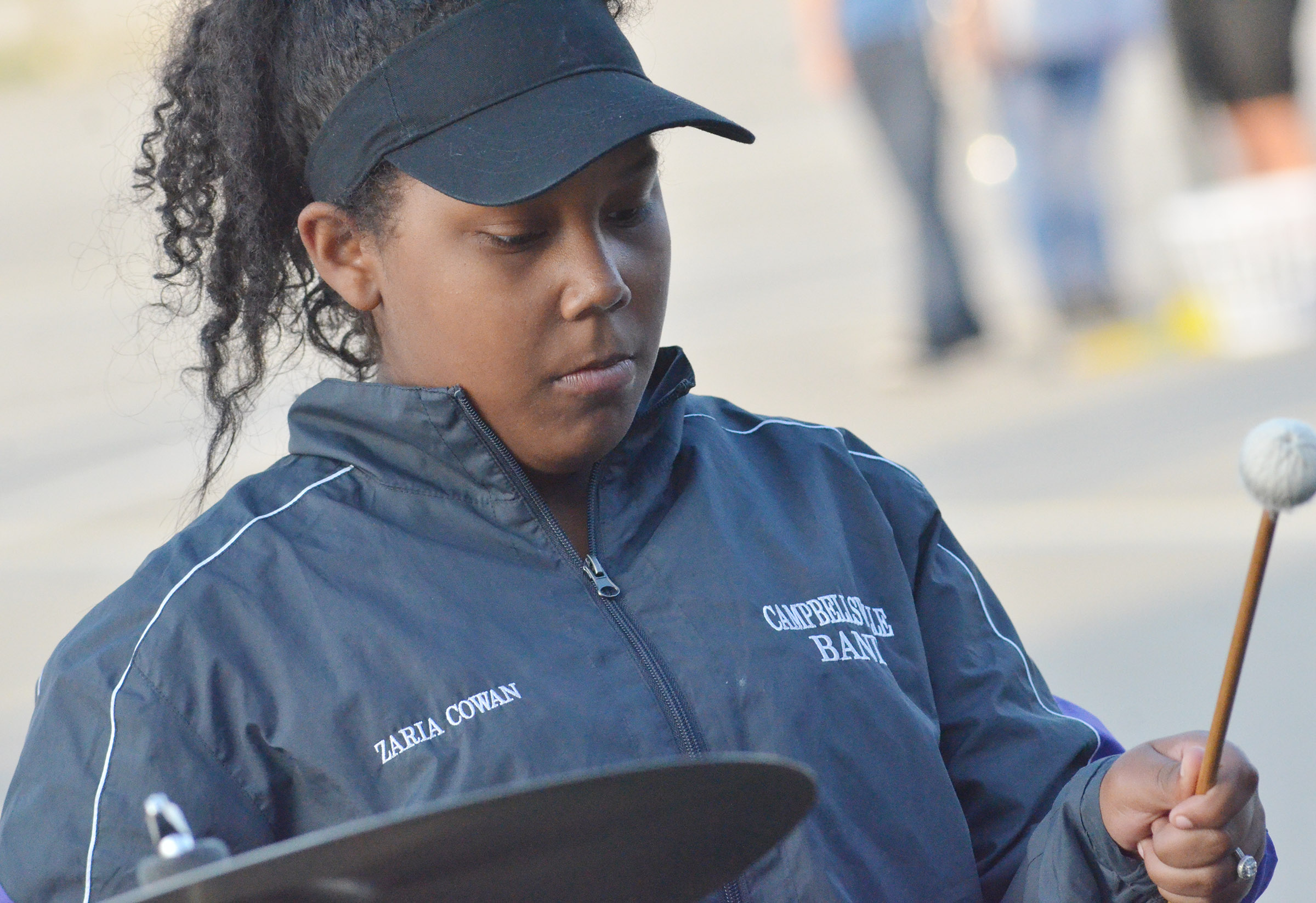CHS sophomore Zaria Cowan plays percussion during the last practice of the season.