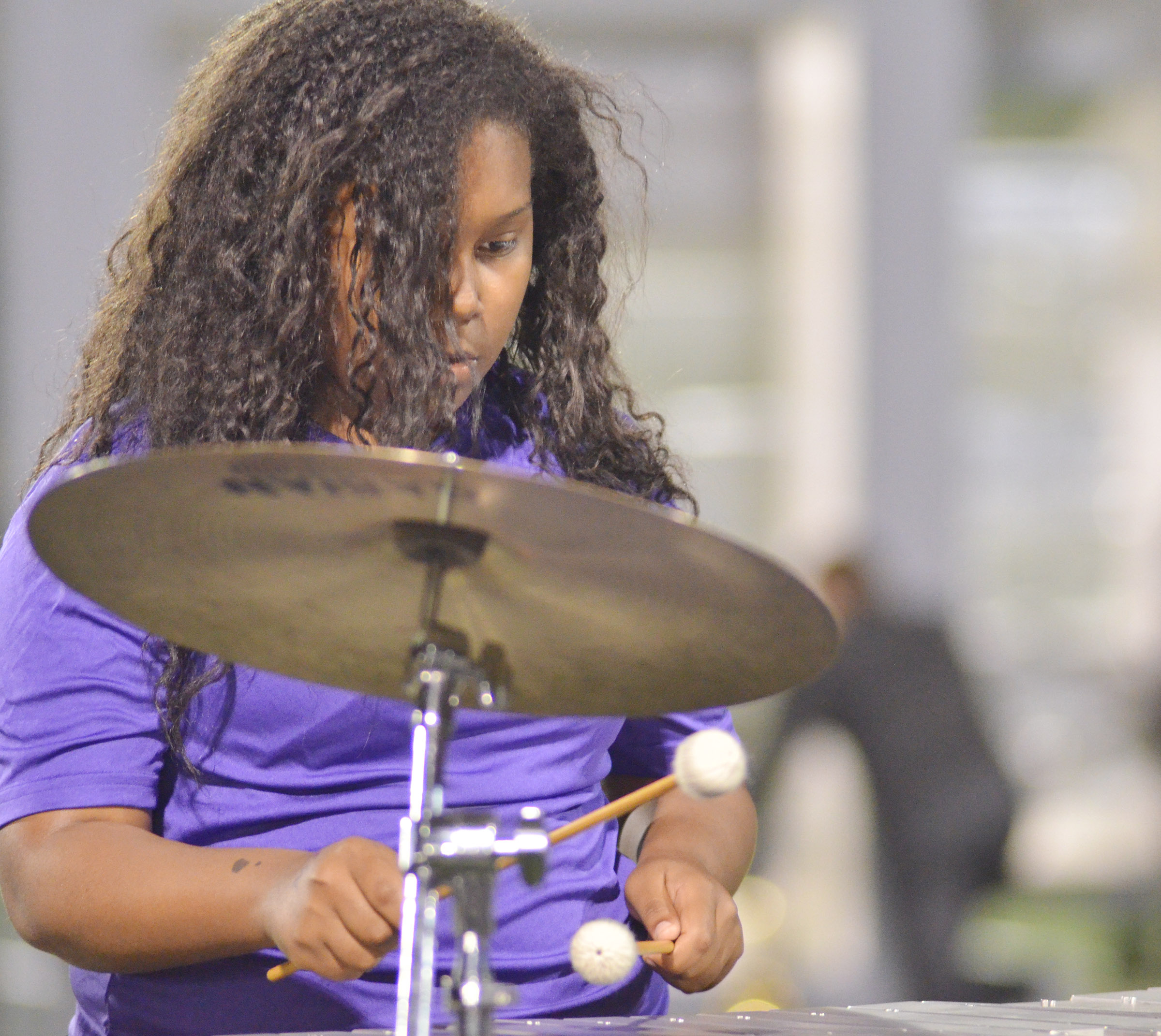 CHS sophomore Zaria Cowan plays percussion.